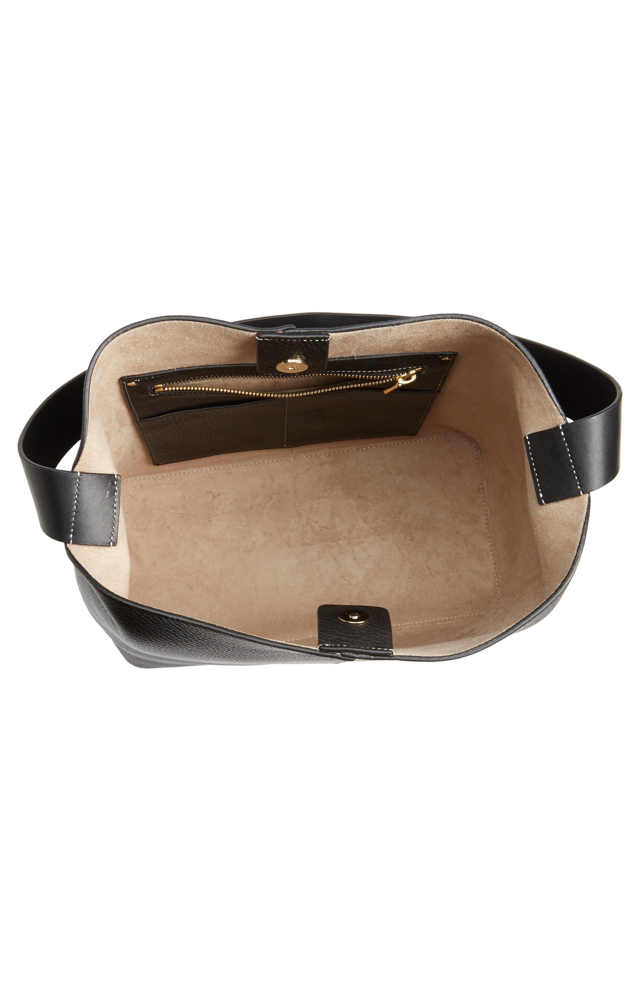 Large Leather Shoulder Bag,                             Alternate thumbnail 4, color,                             Black