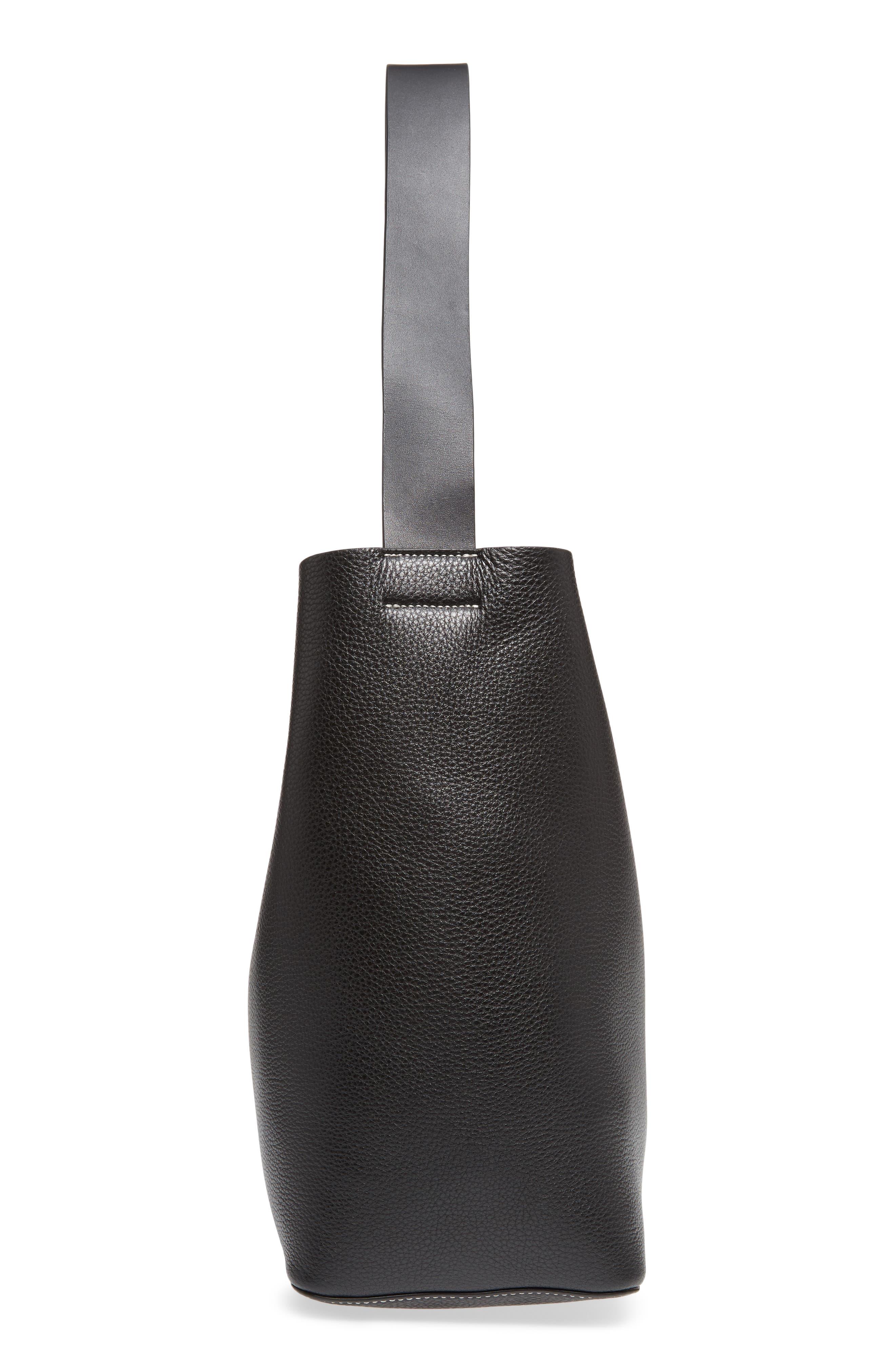 Large Leather Shoulder Bag,                             Alternate thumbnail 5, color,                             Black