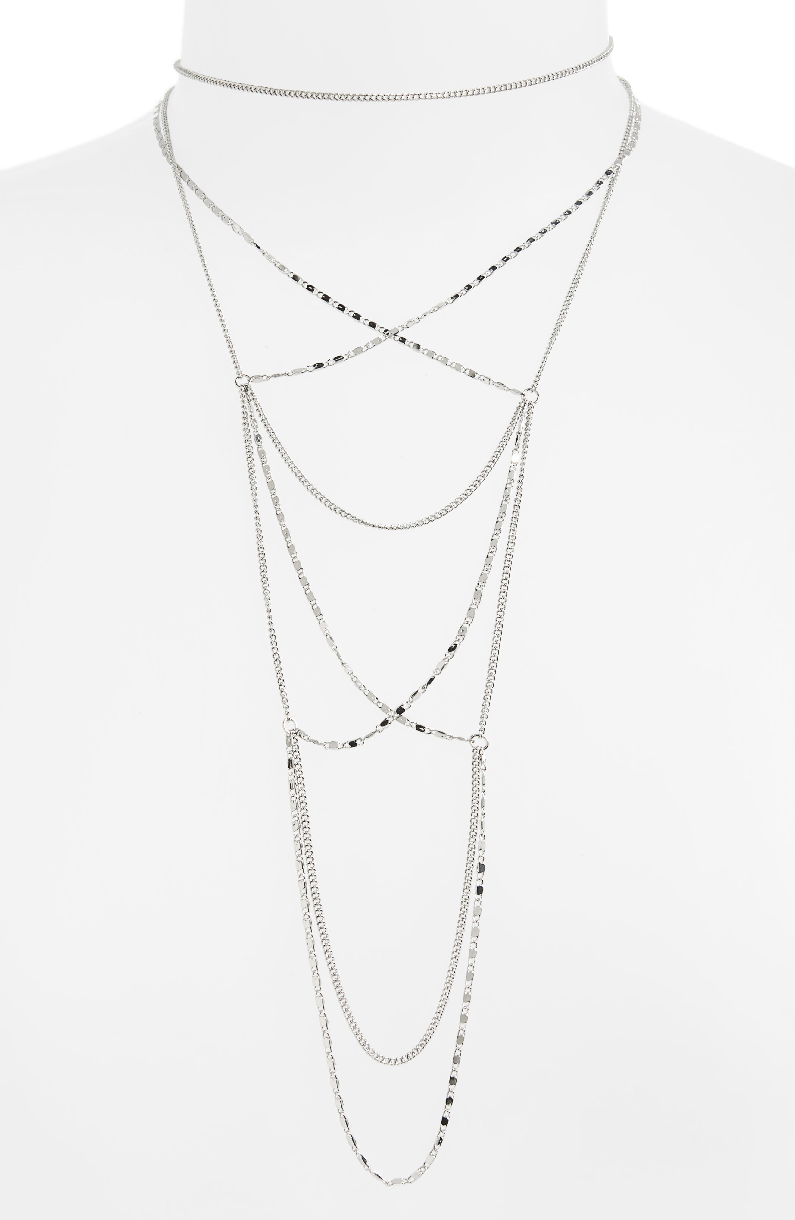 Layered Chain Necklace,                         Main,                         color, Silver