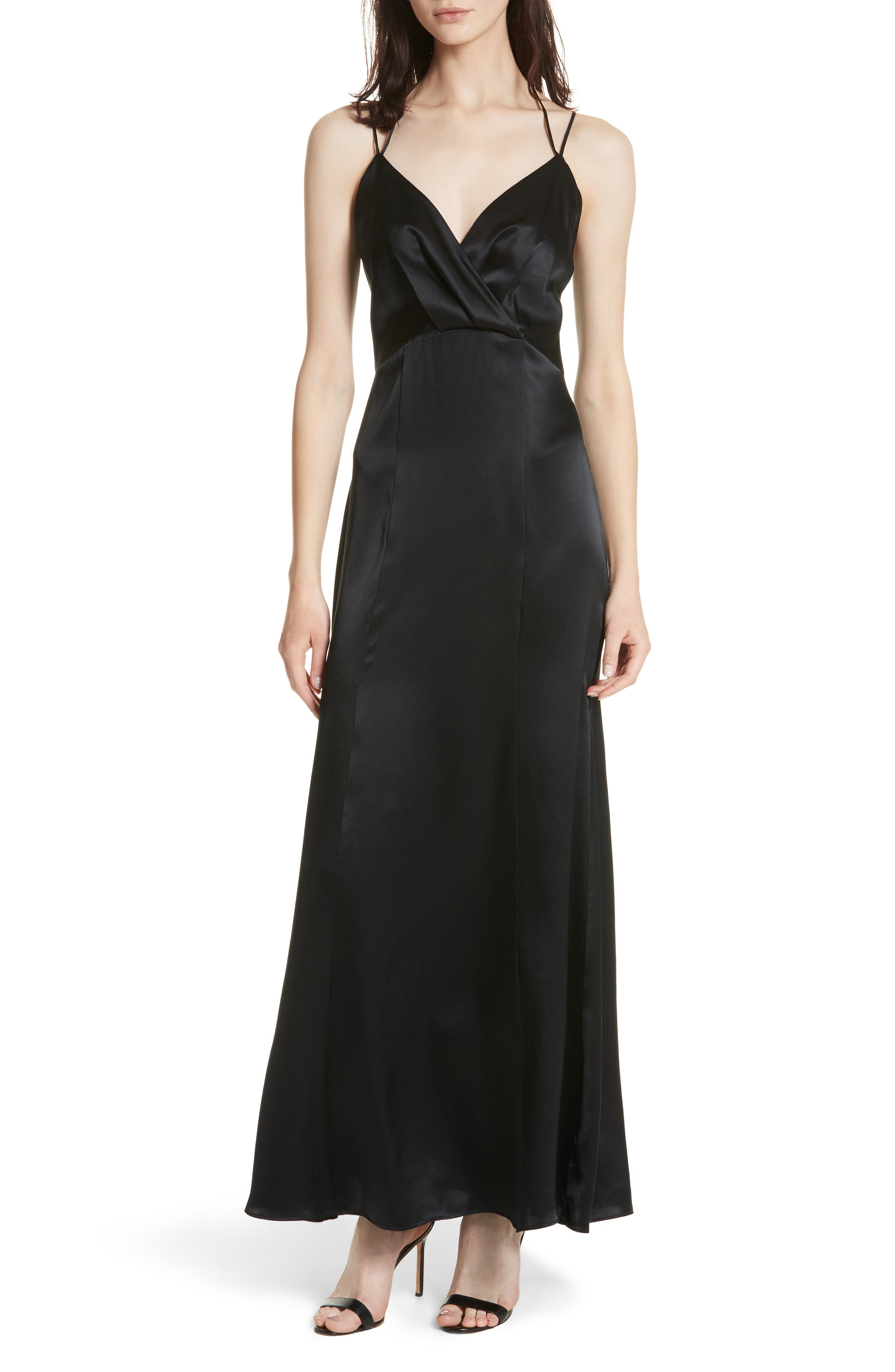 Octavia Strappy Silk Charmeuse Gown,                             Main thumbnail 1, color,                             Black