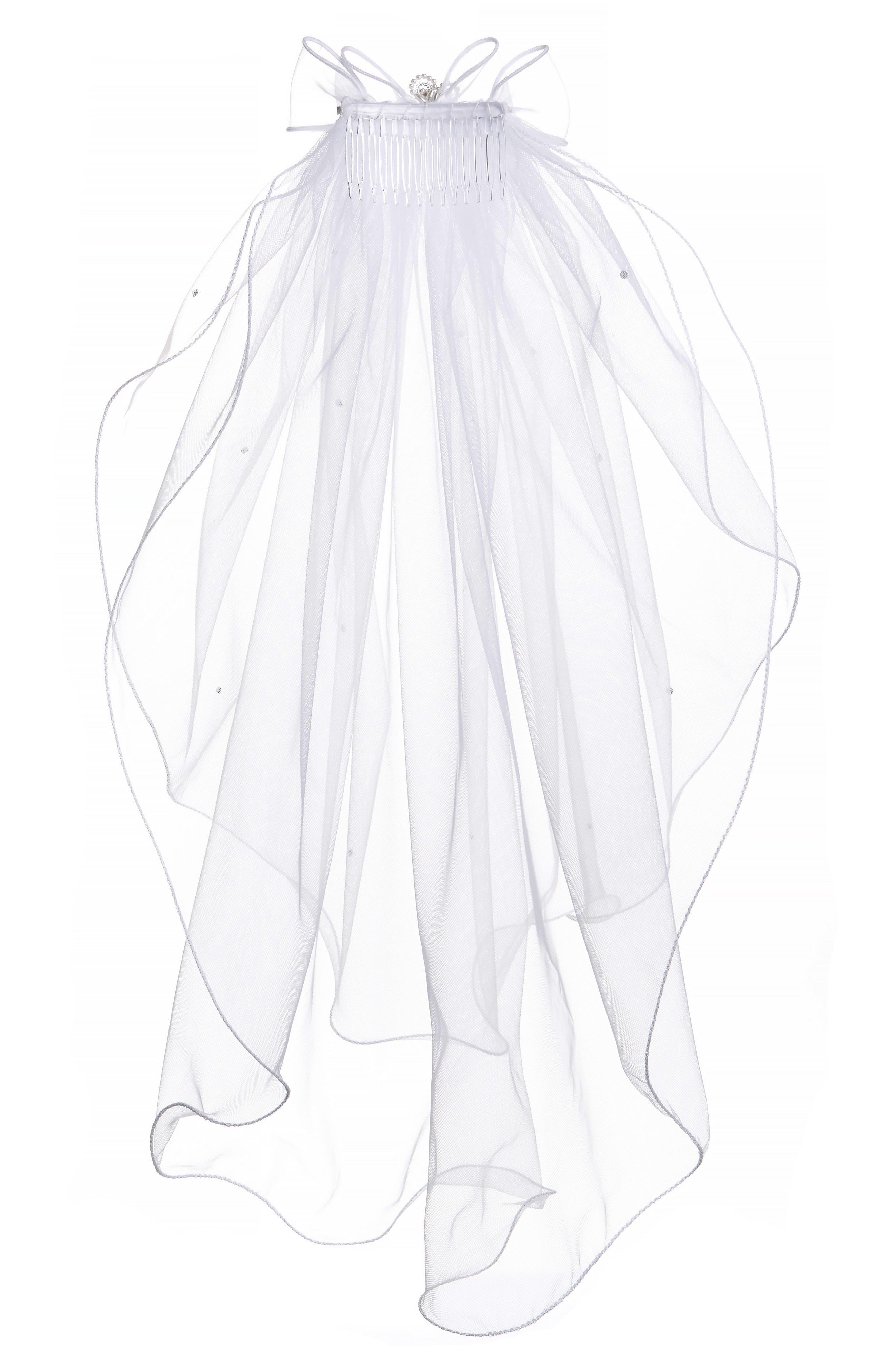 Alternate Image 6  - Lauren Marie Beaded Bow & Veil (Big Girls)