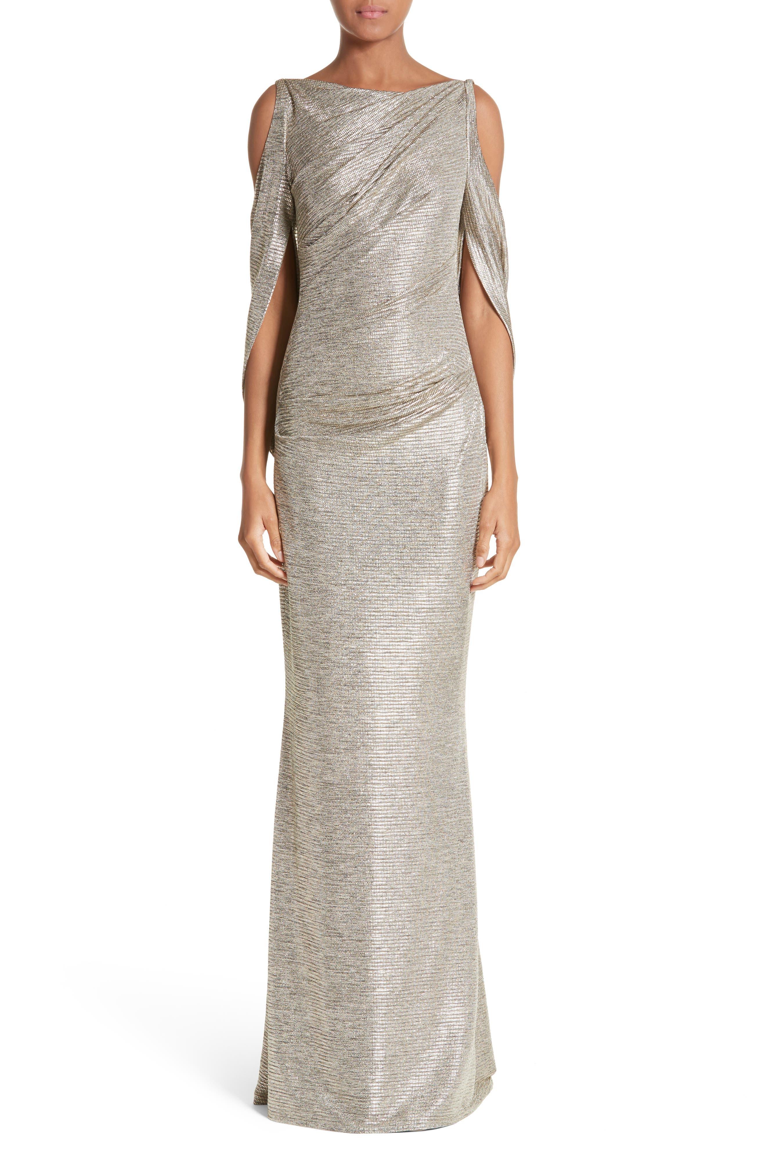 Cold Shoulder Drape Back Gown,                             Main thumbnail 1, color,                             Gold