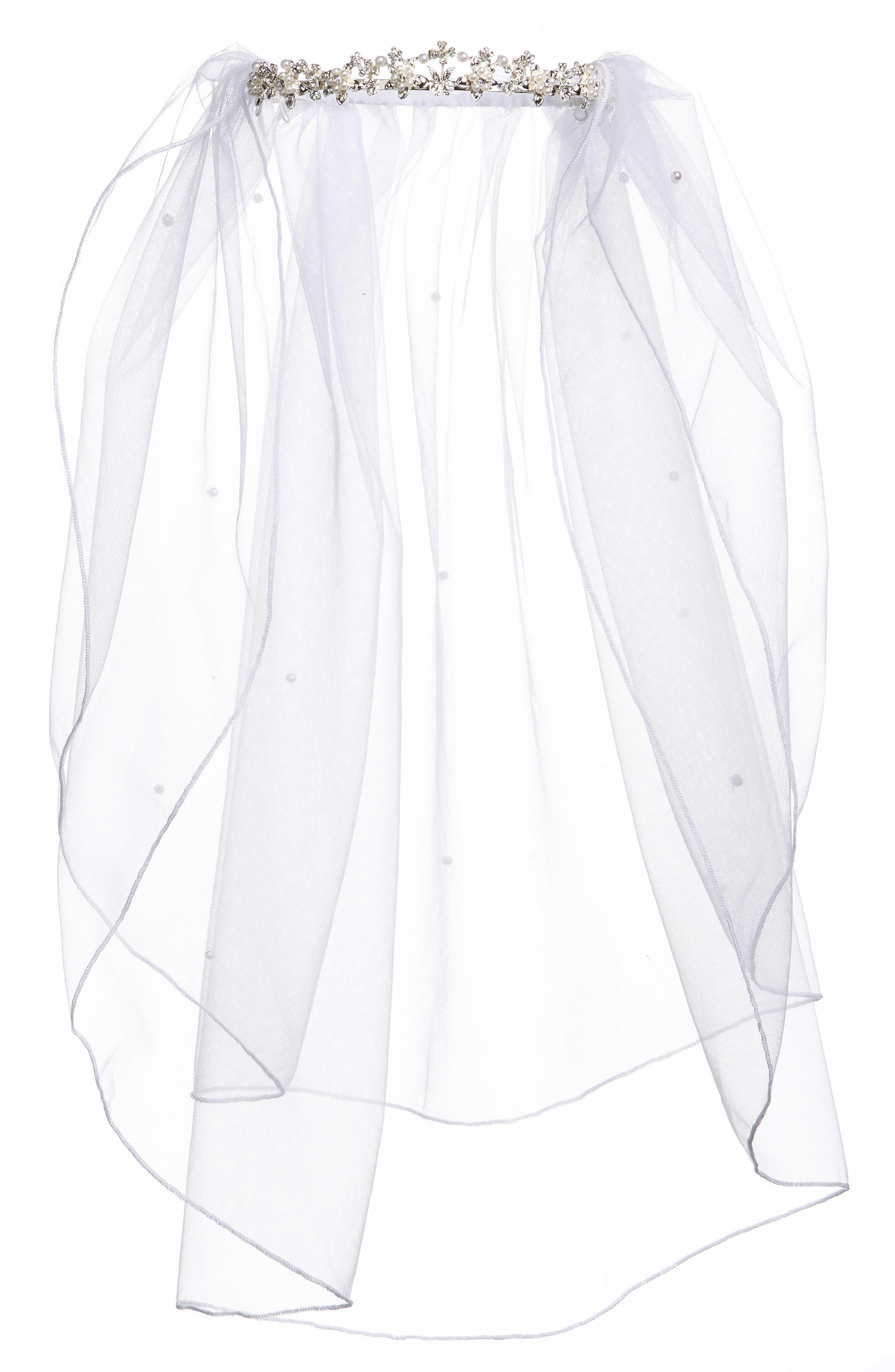 Alternate Image 1 Selected - Lauren Marie Imitation Pearl Crown & Veil (Big Girls)