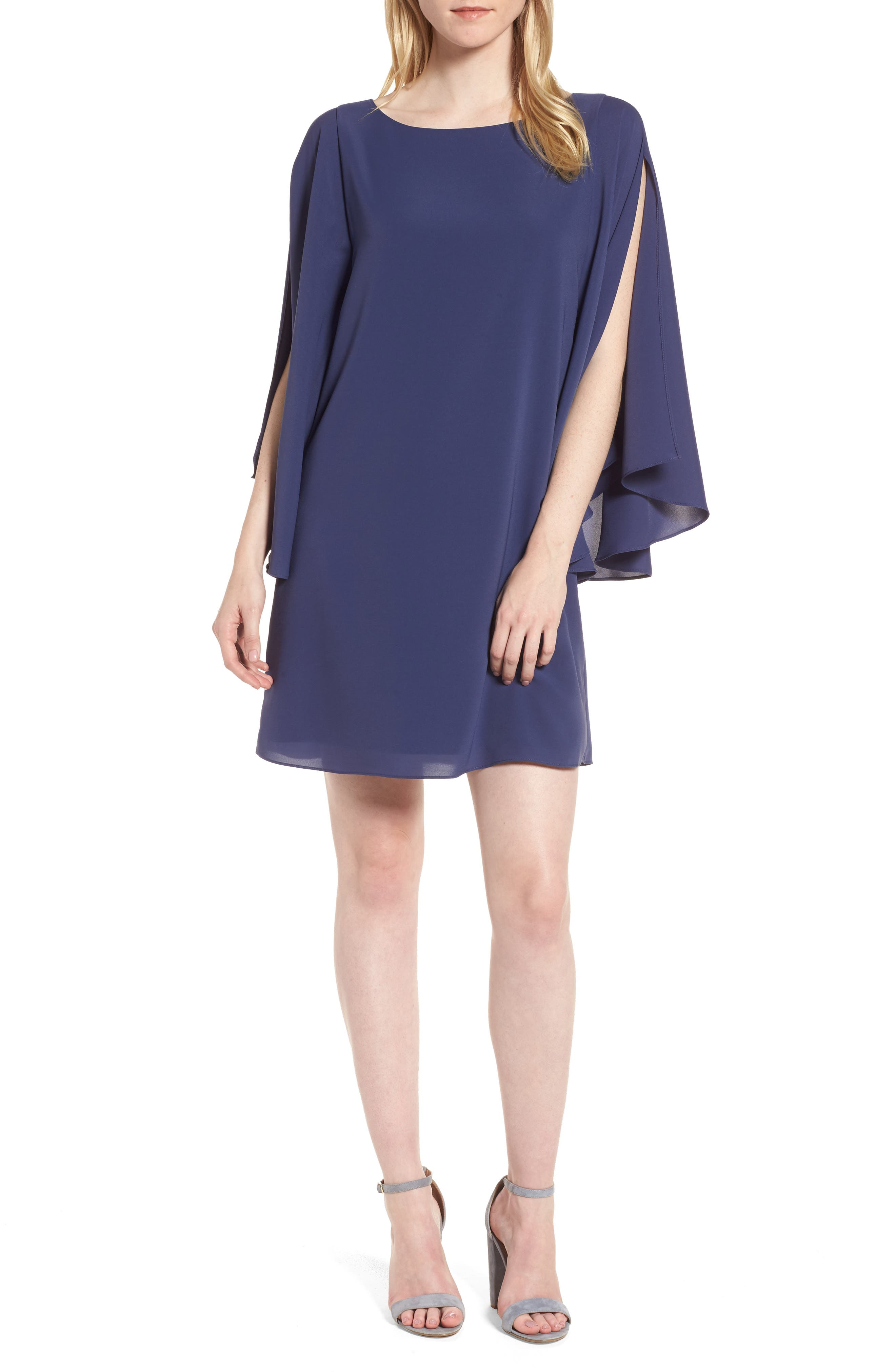 Butterfly Sleeve Shift Dress,                         Main,                         color, Navy