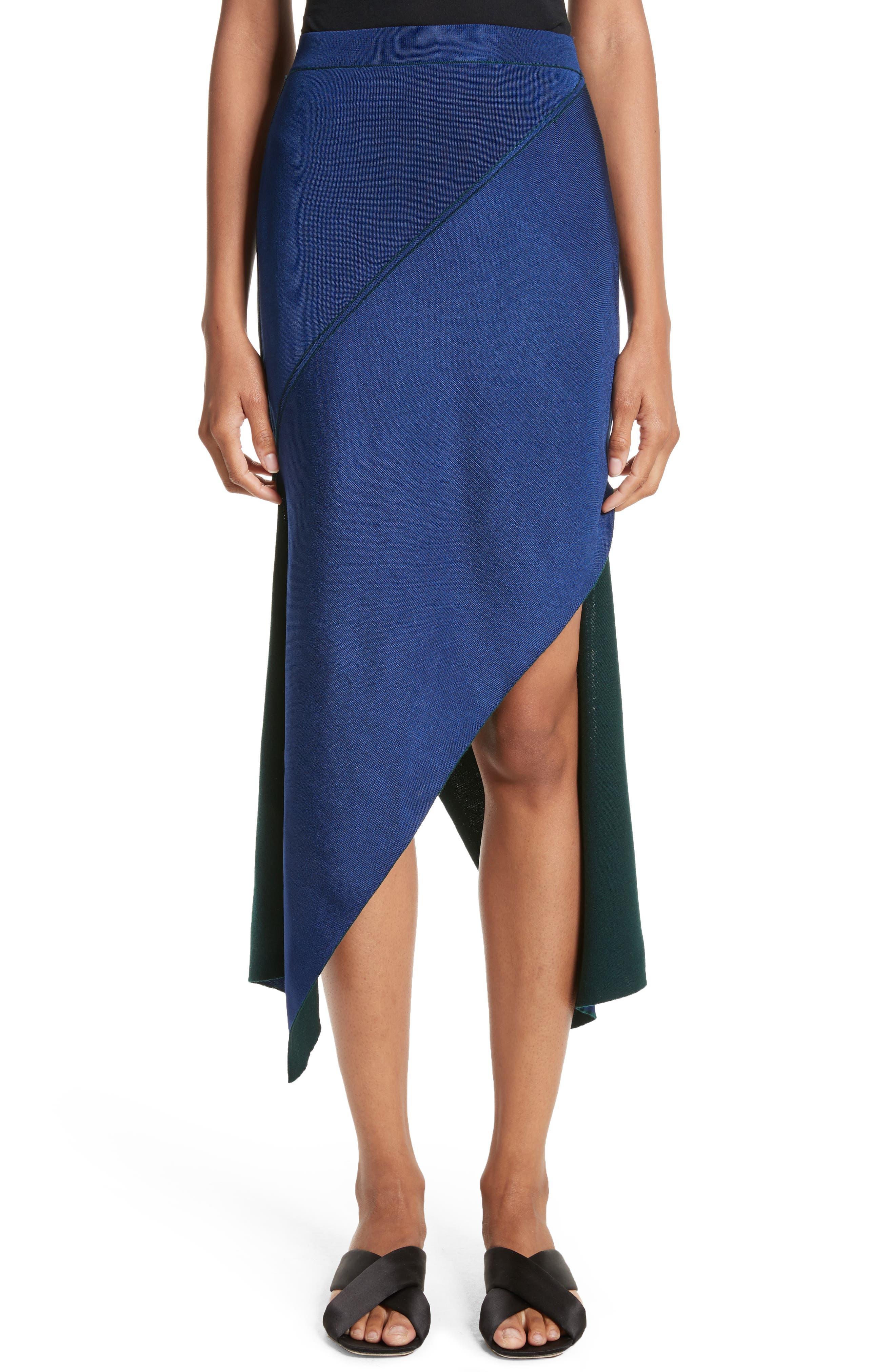 Reversible Asymmetrical Knit Midi Skirt,                             Alternate thumbnail 6, color,                             Ivy/ Lapis