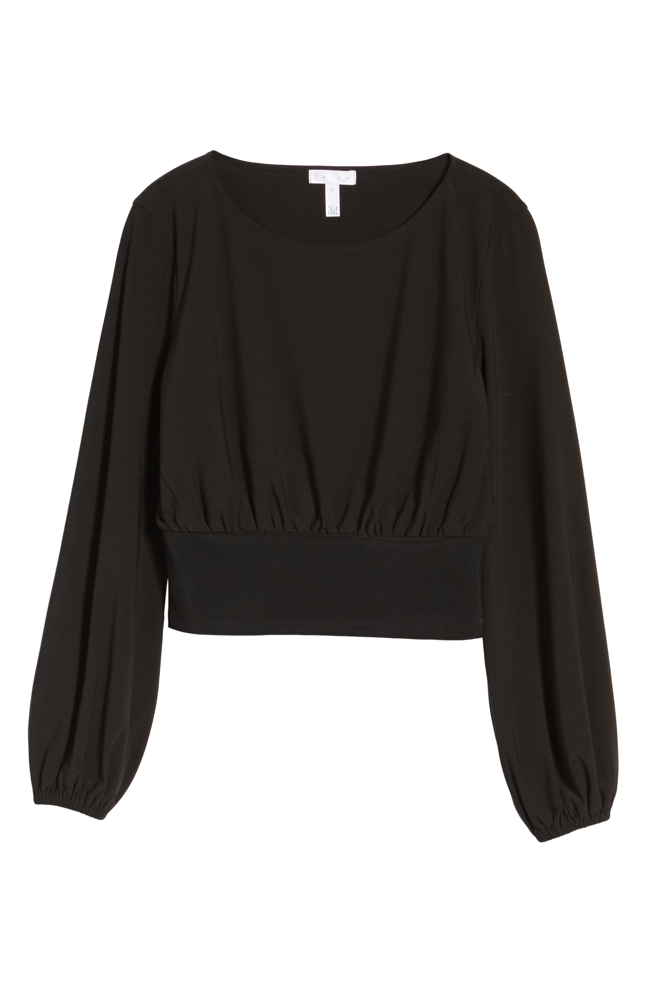 Blouson Banded Top,                             Alternate thumbnail 6, color,                             Black