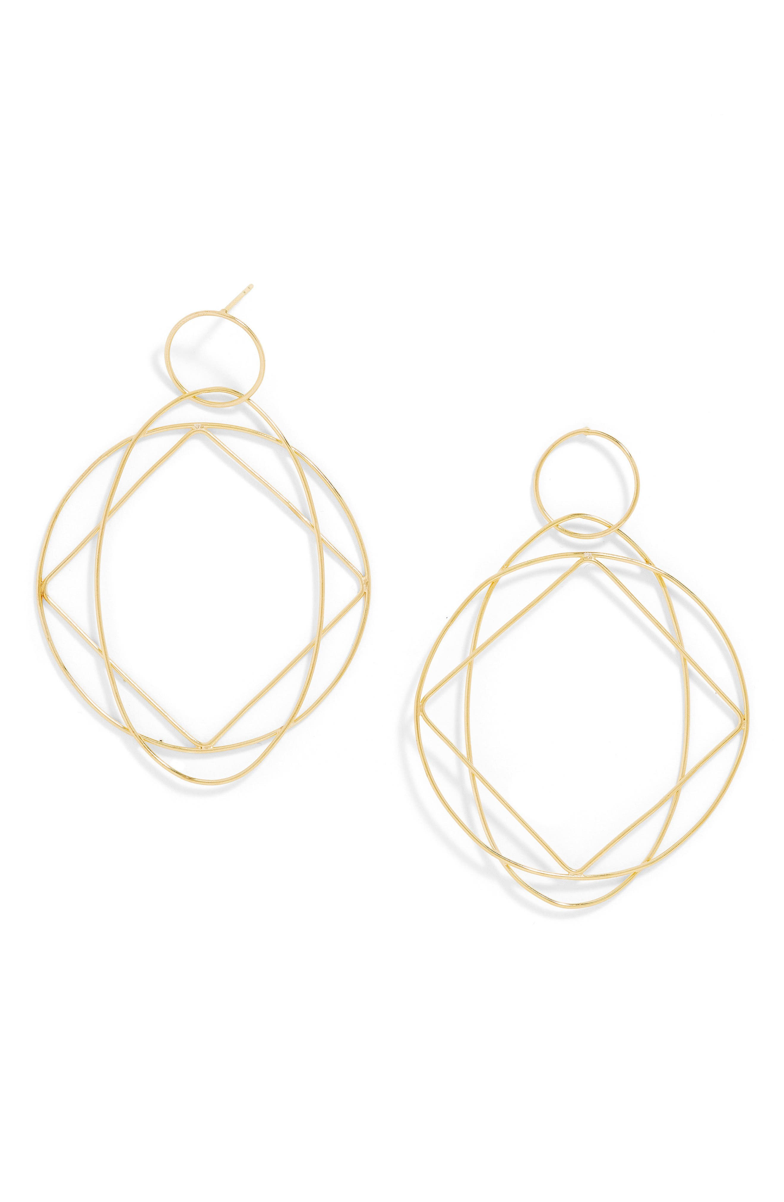 Quad Everyday Spinning Hoop Earrings,                             Main thumbnail 1, color,                             Gold