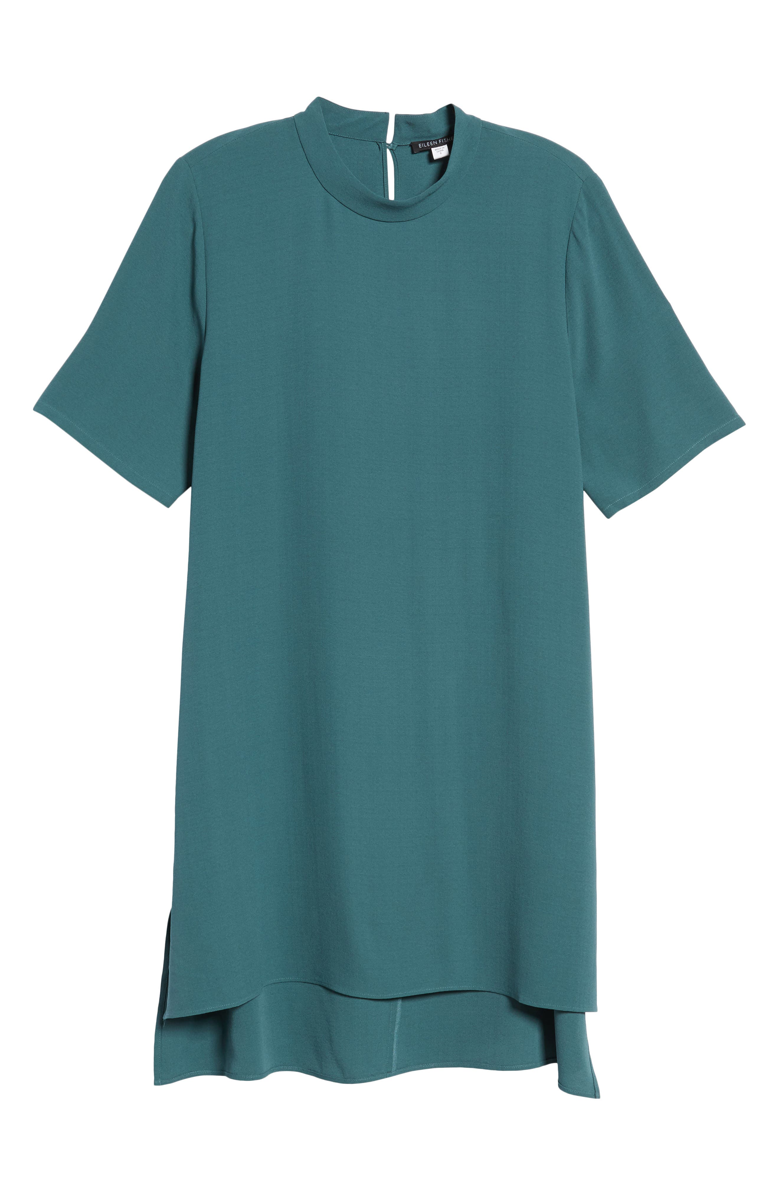 High Neck Silk Tunic,                             Alternate thumbnail 6, color,                             Dragonfly