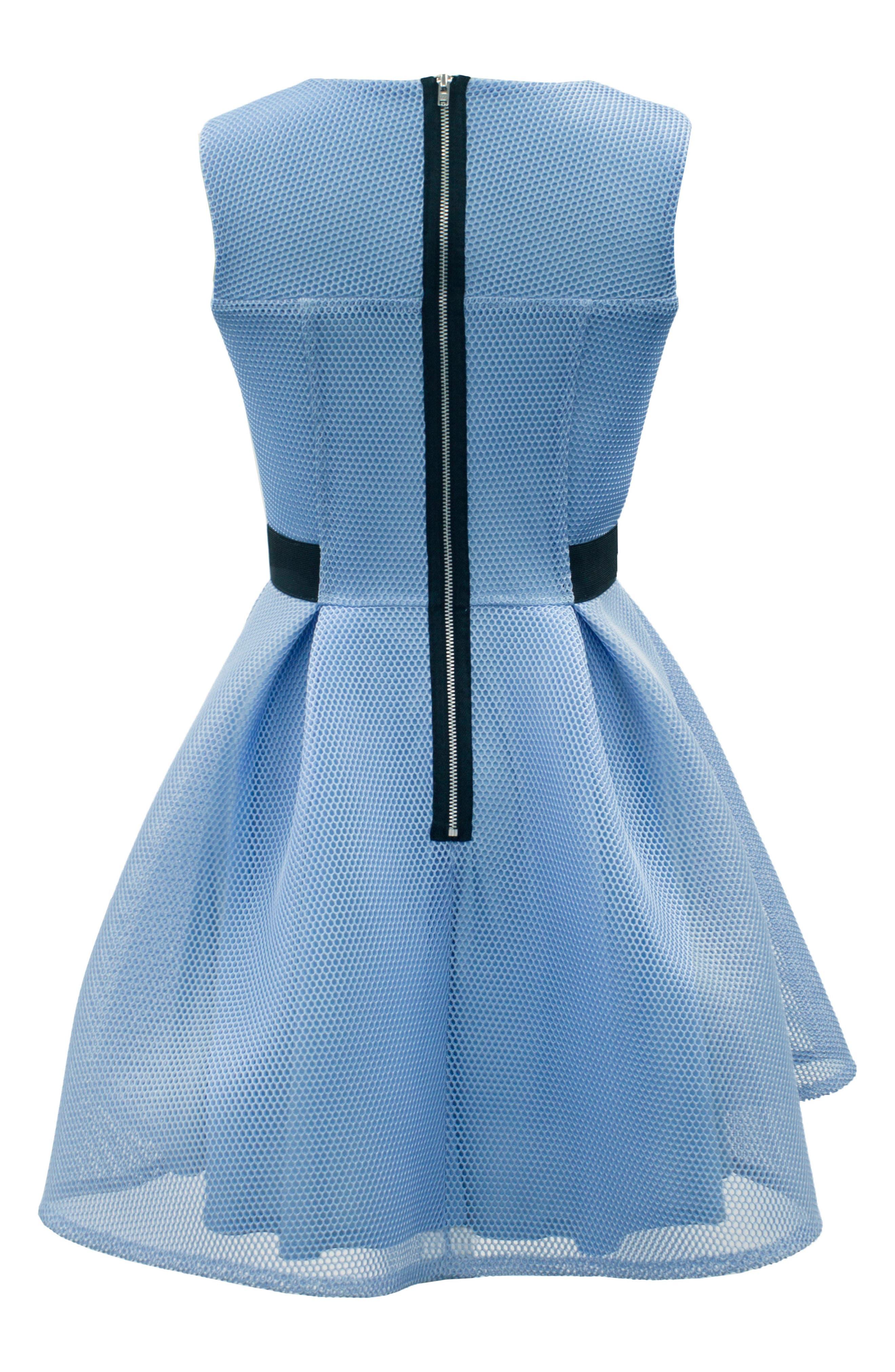 Techno Mesh Fit & Flare Dress,                             Alternate thumbnail 2, color,                             Blue