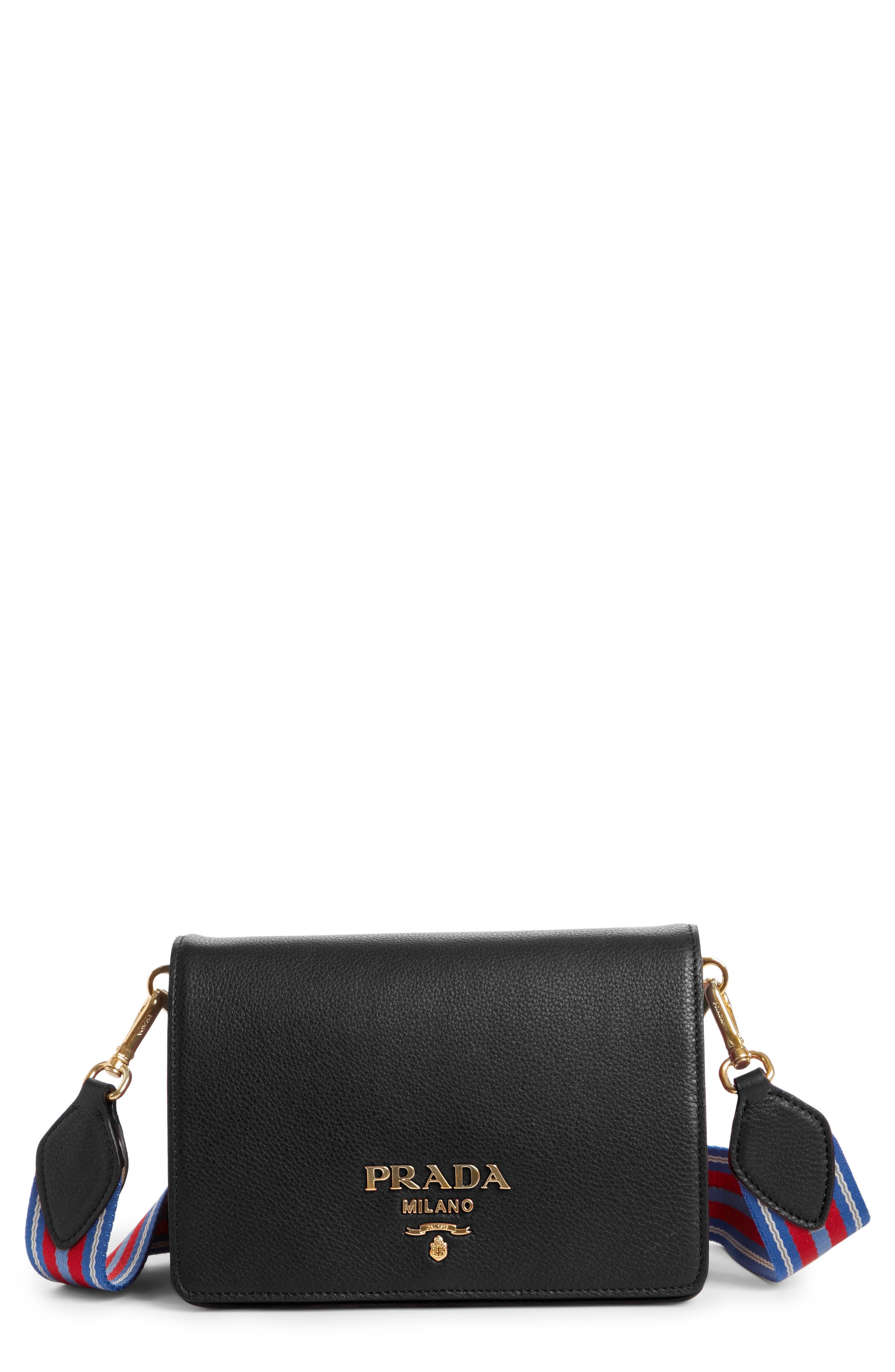 Prada Vitello Daino Double Compartment Leather Shoulder Bag