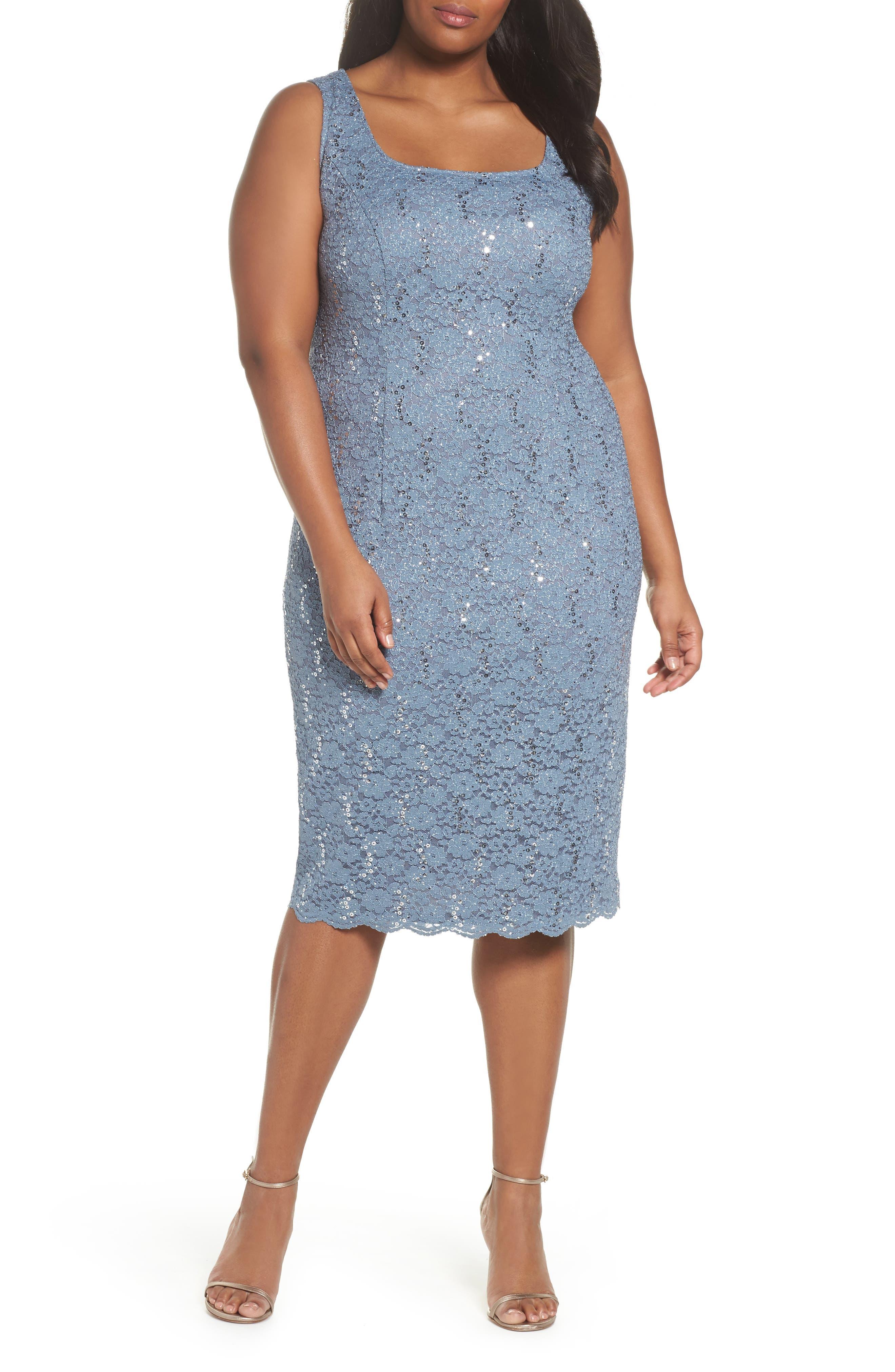 Sequin Lace Jacket Dress,                             Alternate thumbnail 4, color,                             Steel Blue