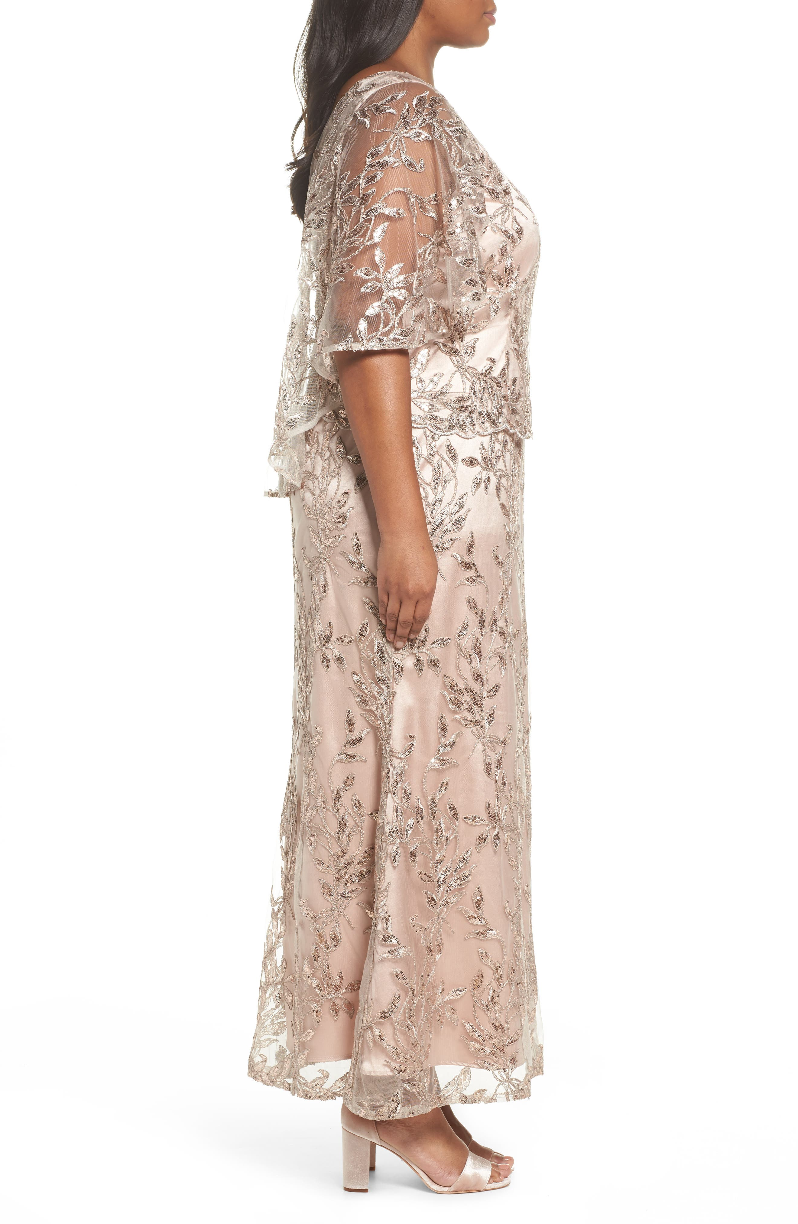 Sequin Embroidered Capelet Gown,                             Alternate thumbnail 3, color,                             Latte