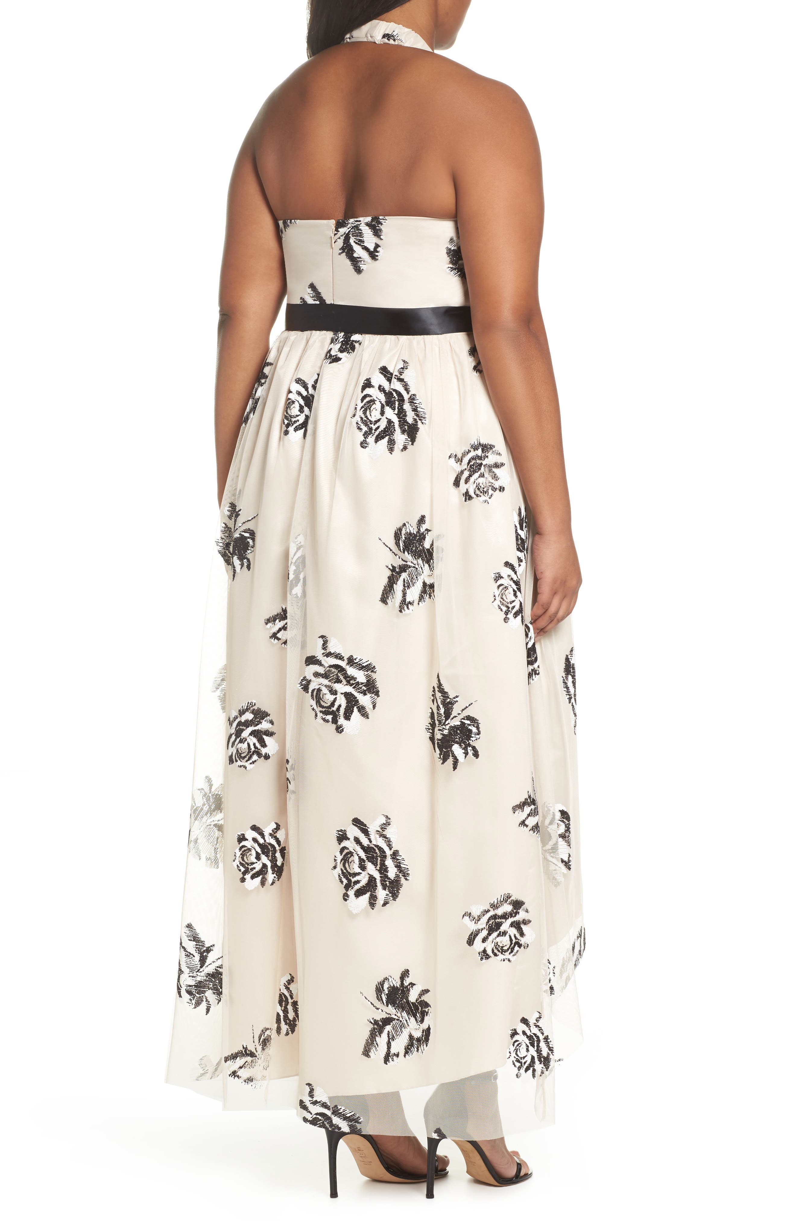 Alternate Image 2  - Marina Mesh Embroidered Halter Gown (Plus Size)