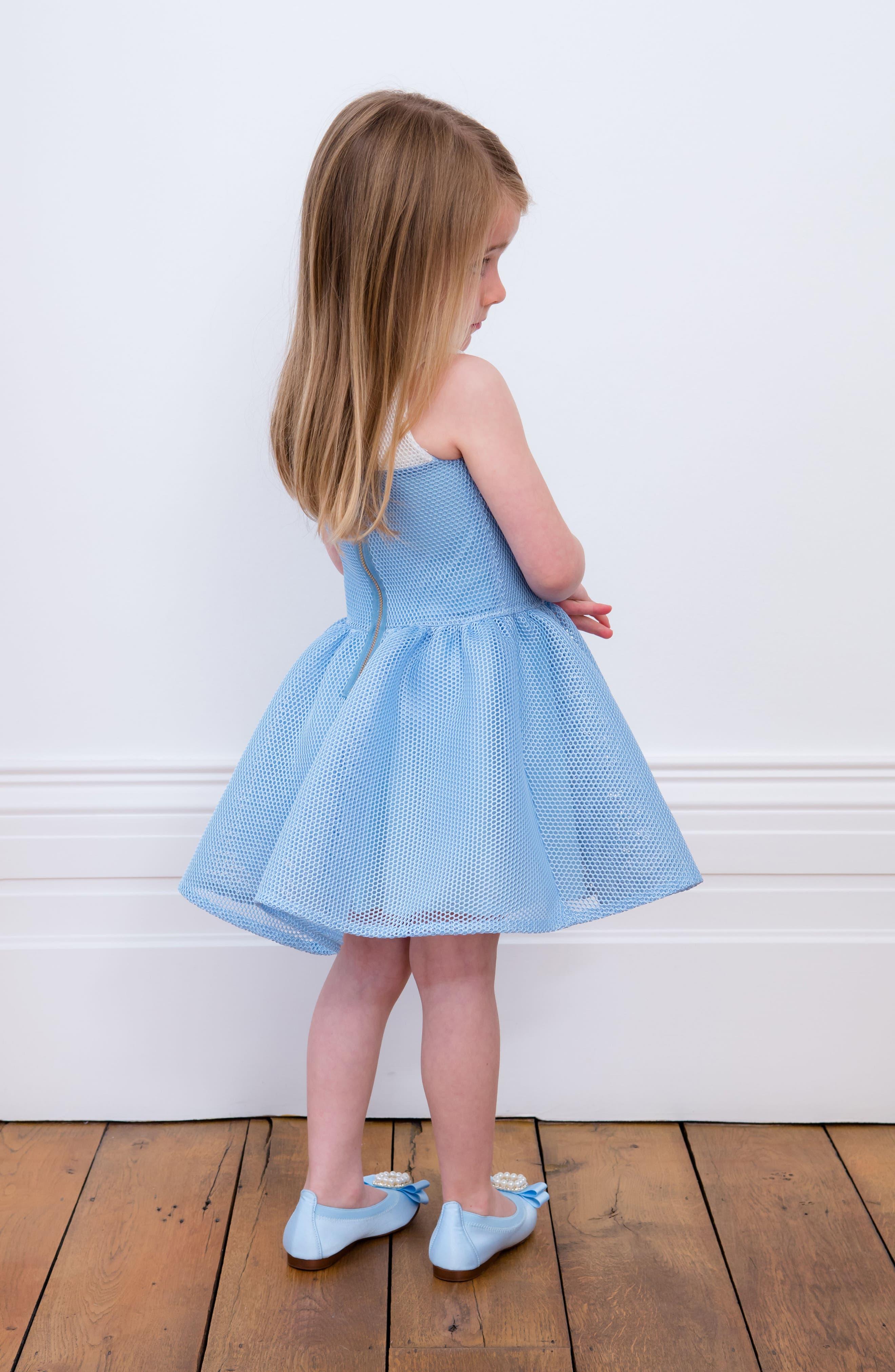 Mesh Fit & Flare Dress,                             Alternate thumbnail 3, color,                             Blue/ Ivory