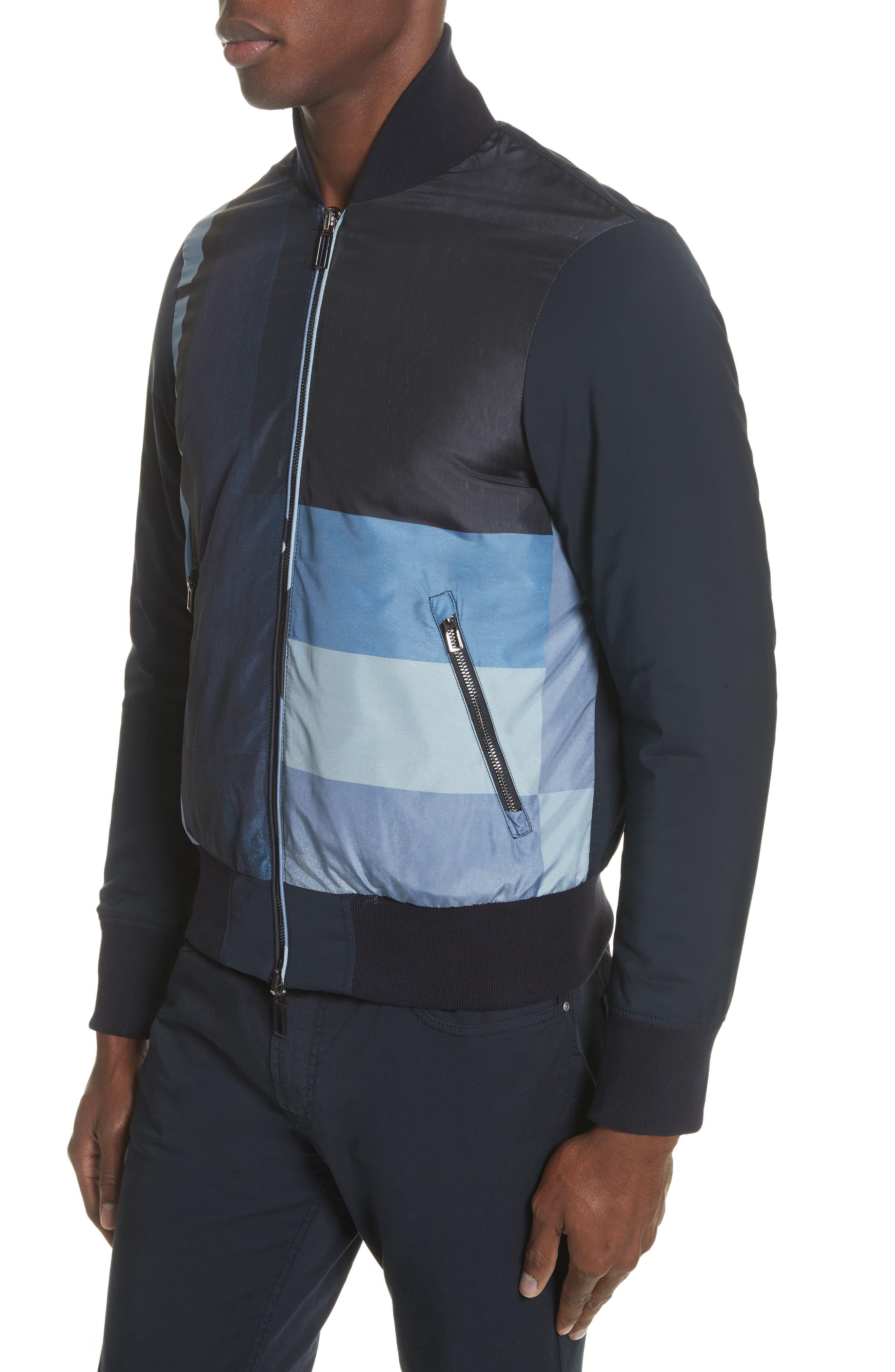 Colorblock Reversible Classic Fit Jacket,                             Alternate thumbnail 4, color,                             Blue Multi
