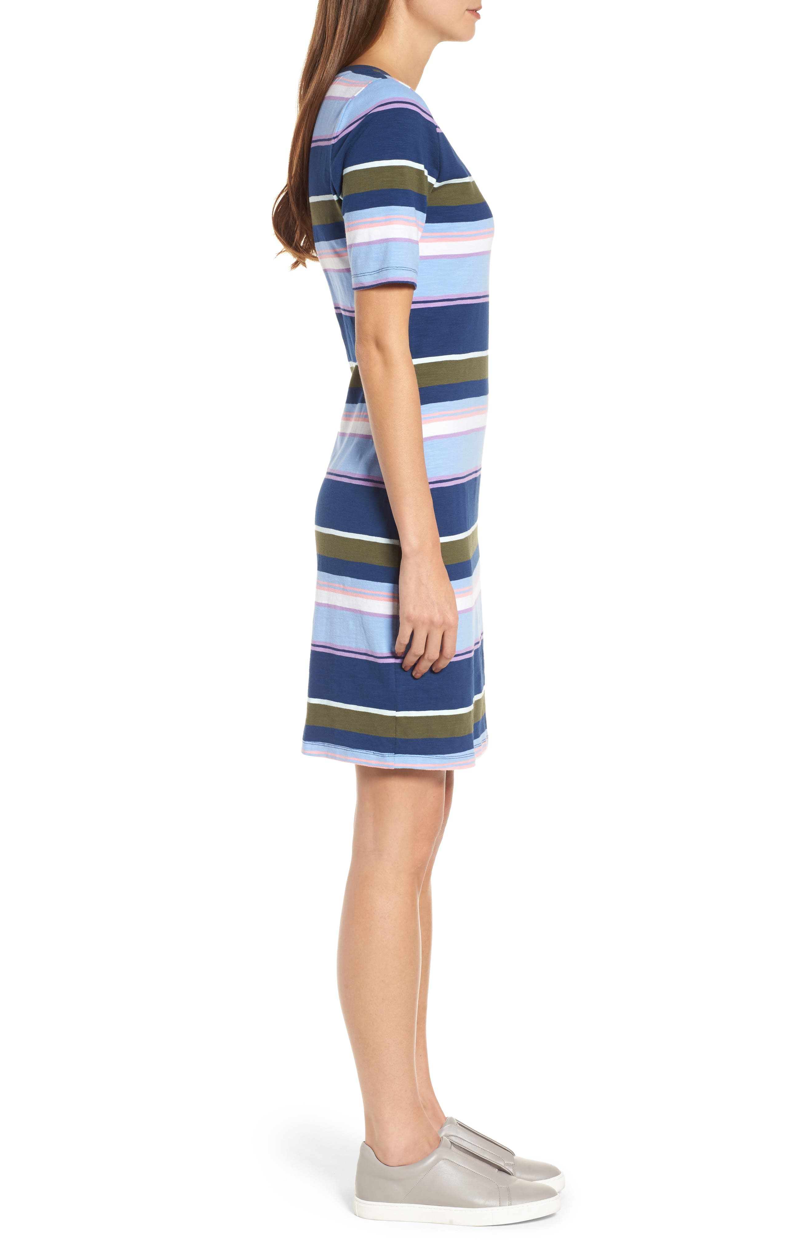 Stripe Scoop Neck Dress,                             Alternate thumbnail 3, color,                             Kingdom Blue