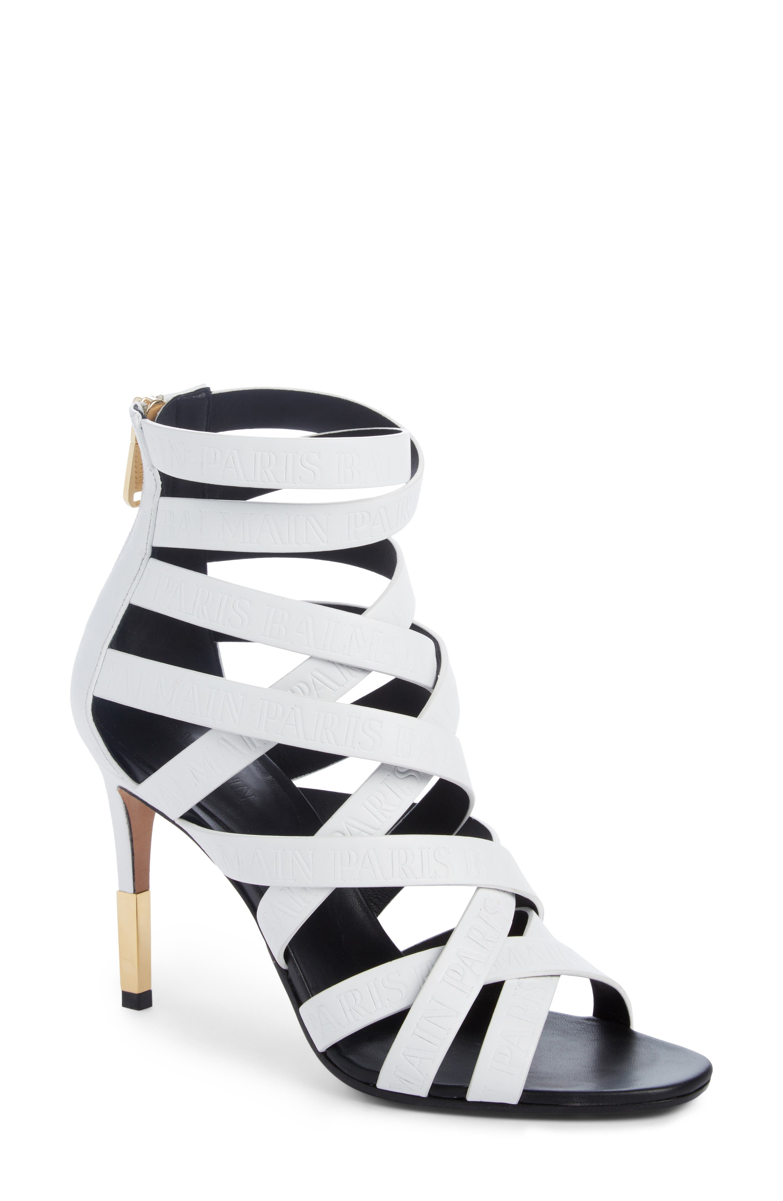 Caged Sandal,                         Main,                         color, White