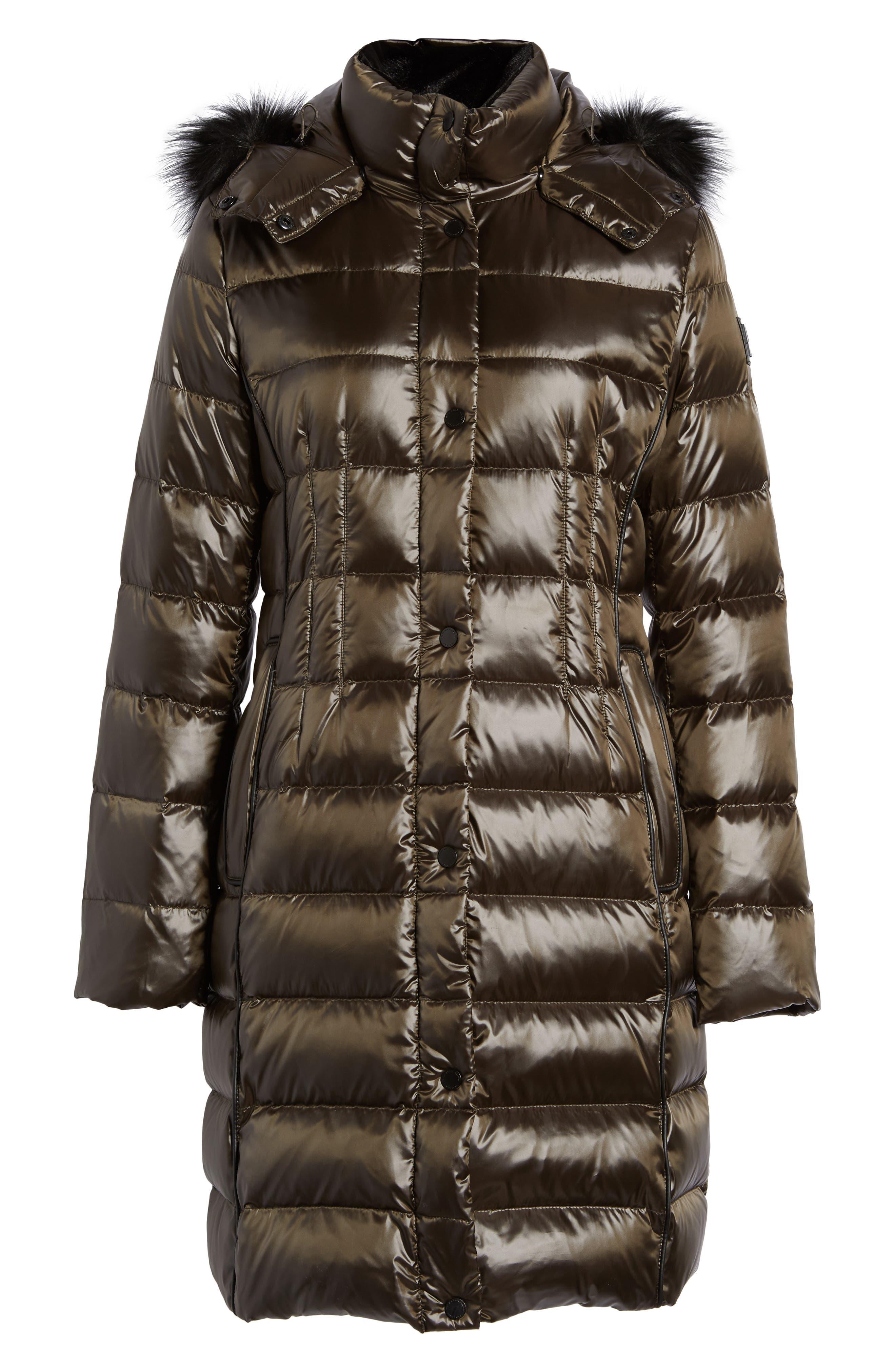 Donna Karan New York Down Puffer Coat with Faux Fur Trim
