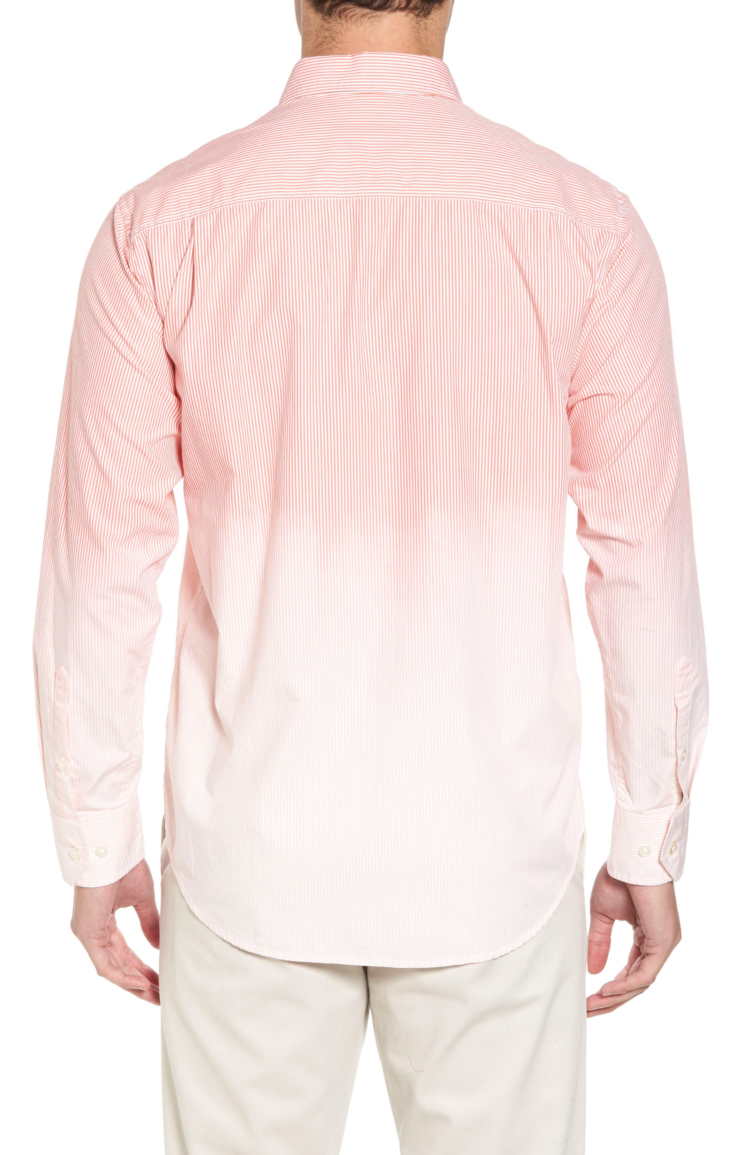 Fadeaway Beach Sport Shirt,                             Alternate thumbnail 2, color,                             Burnt Coral