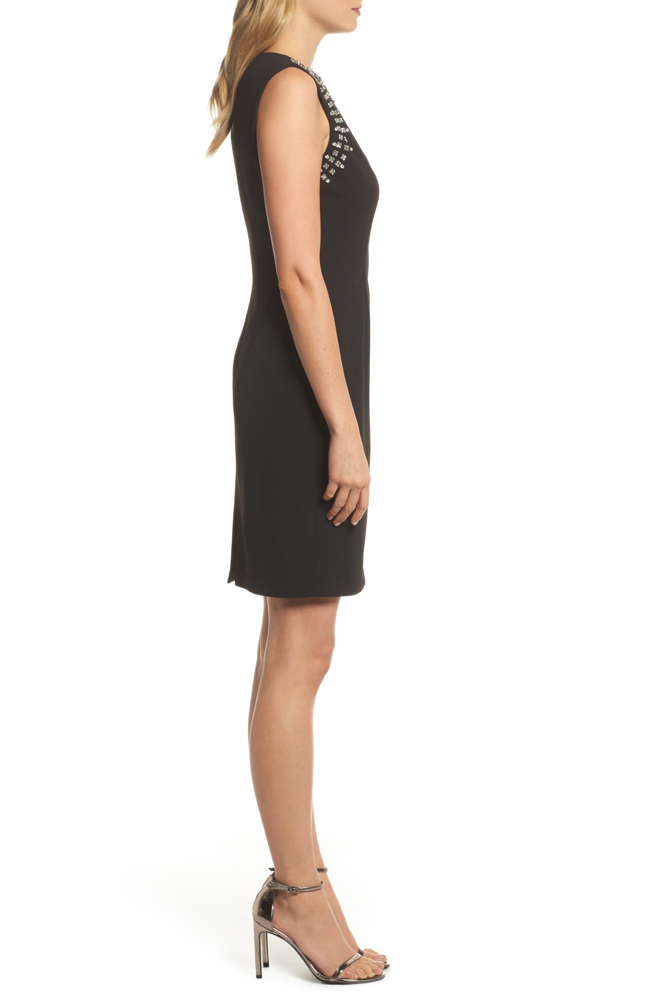 Bead Embellished Crepe Shift Dress,                             Alternate thumbnail 3, color,                             Black