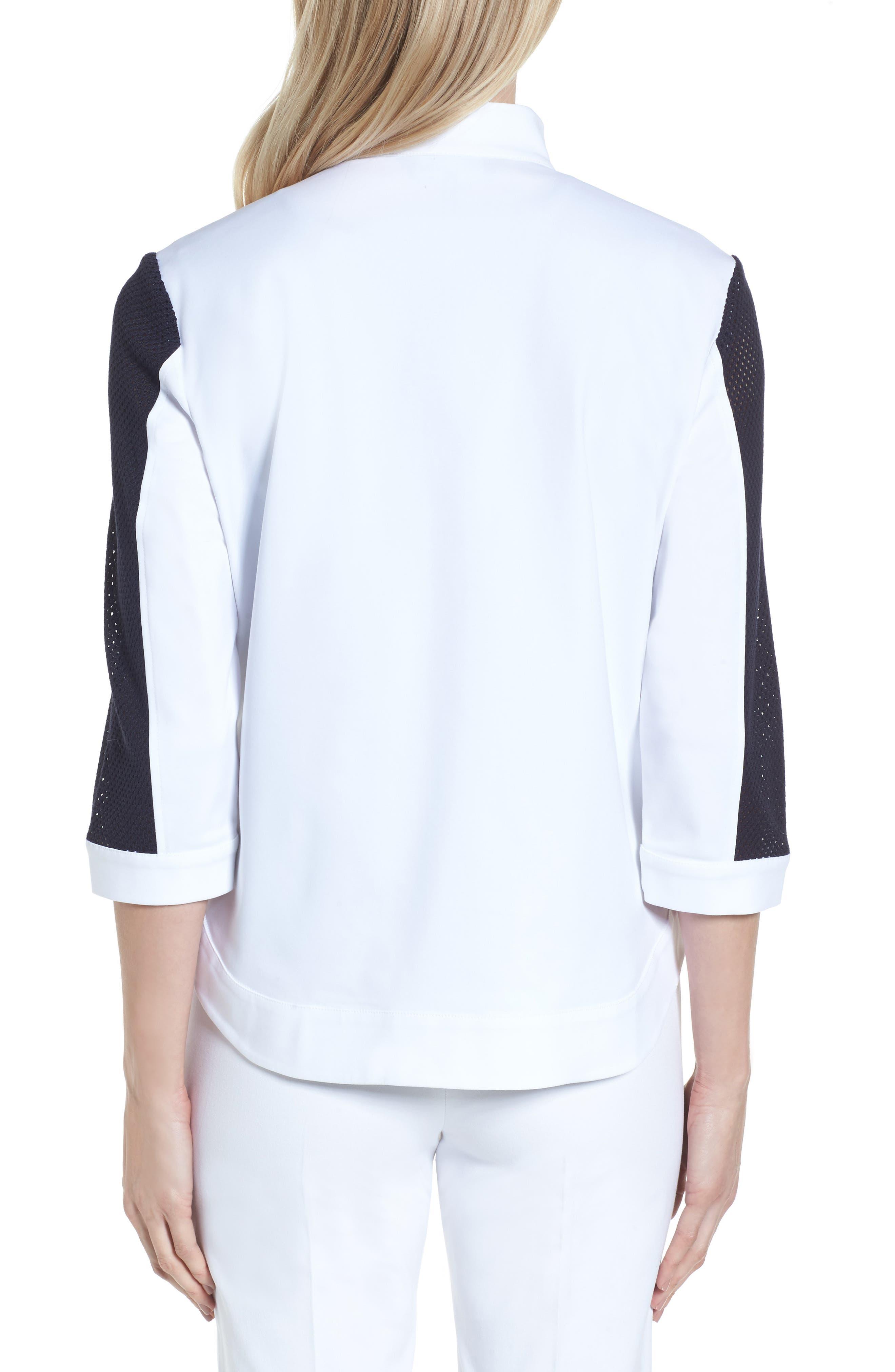 Mesh Trim Woven Jacket,                             Alternate thumbnail 2, color,                             White/ Navy