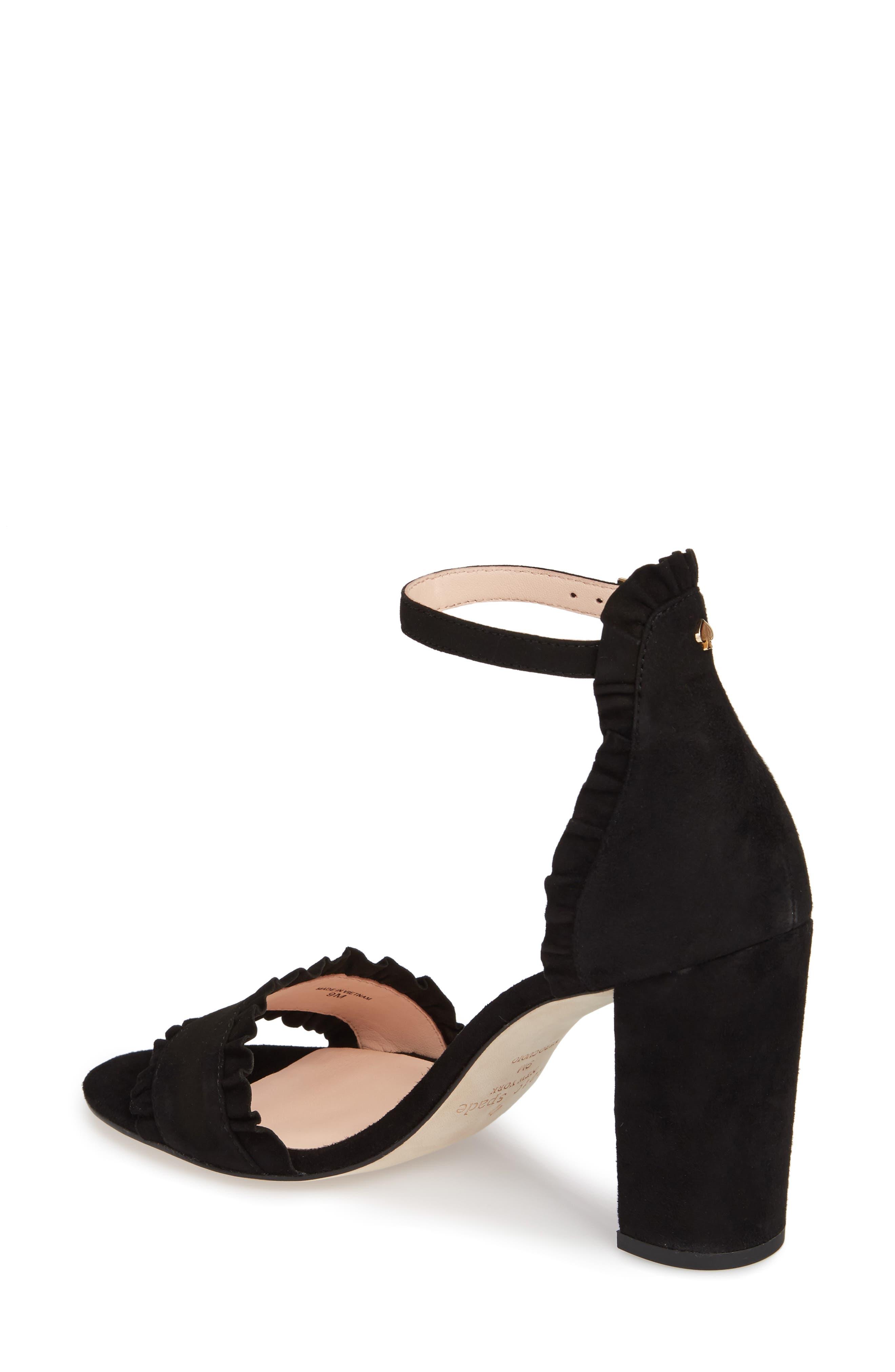 odele ruffle sandal,                             Alternate thumbnail 2, color,                             Black Suede