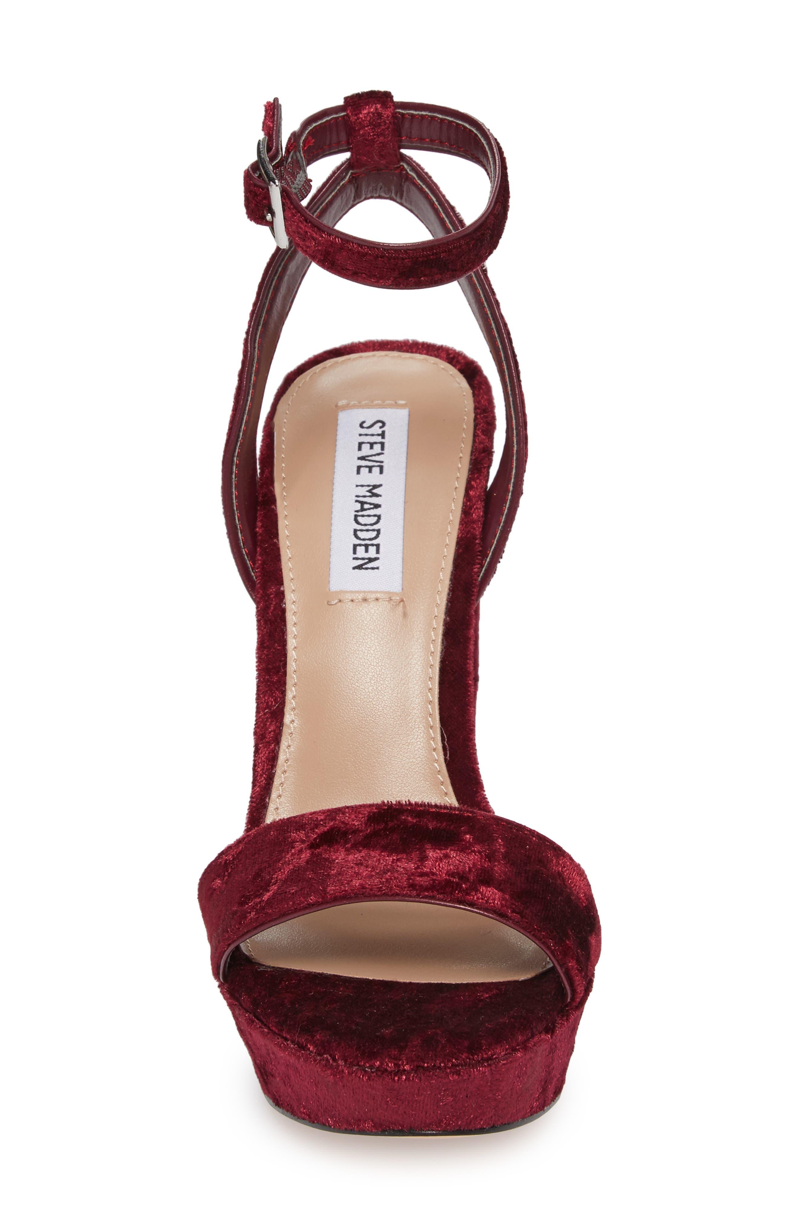 Insomnia Platform Ankle Strap Sandal,                             Alternate thumbnail 4, color,                             Burgundy Fabric