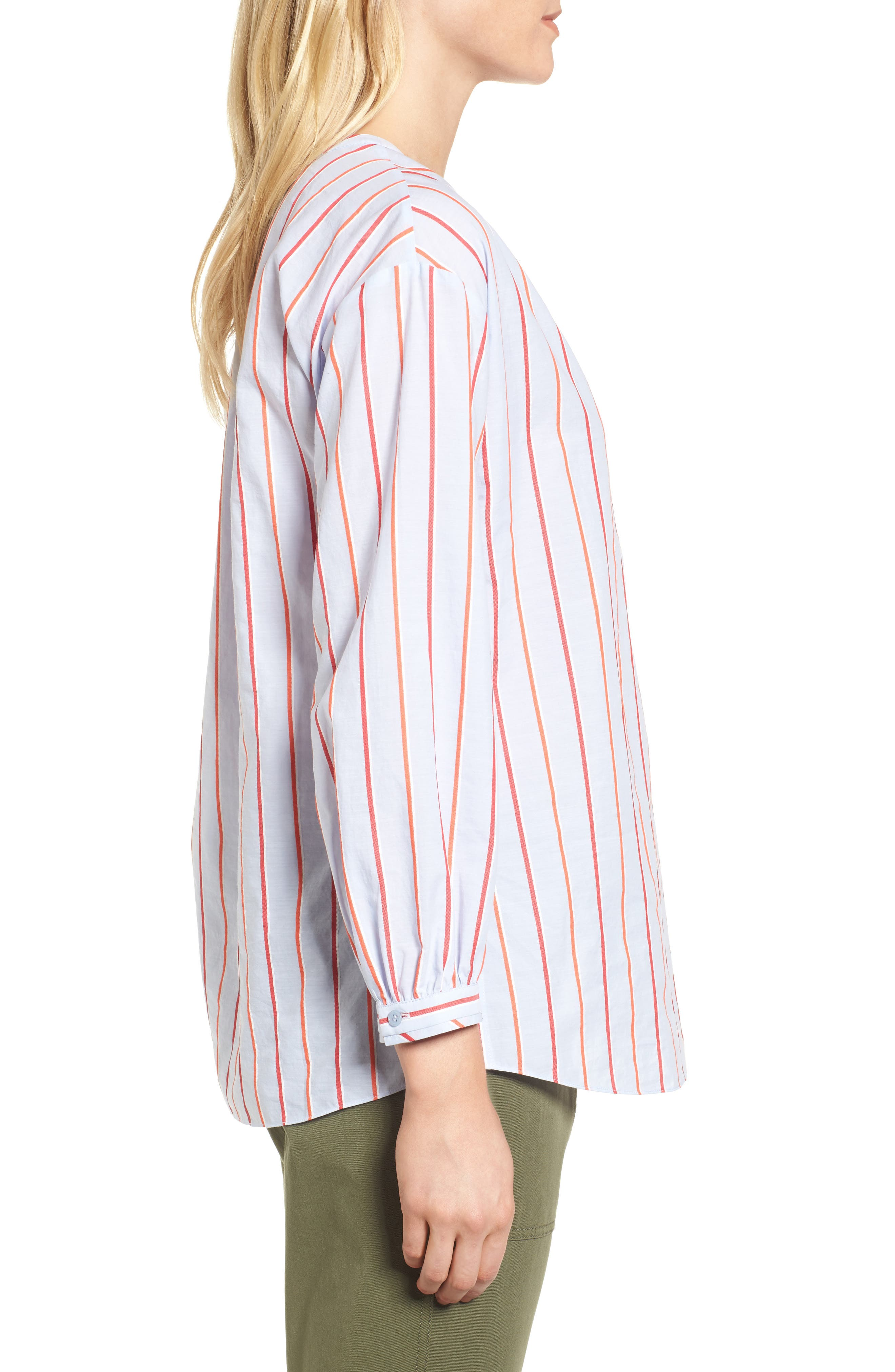 Balloon Sleeve Stripe Shirt,                             Alternate thumbnail 3, color,                             Orange- Blue Stripe