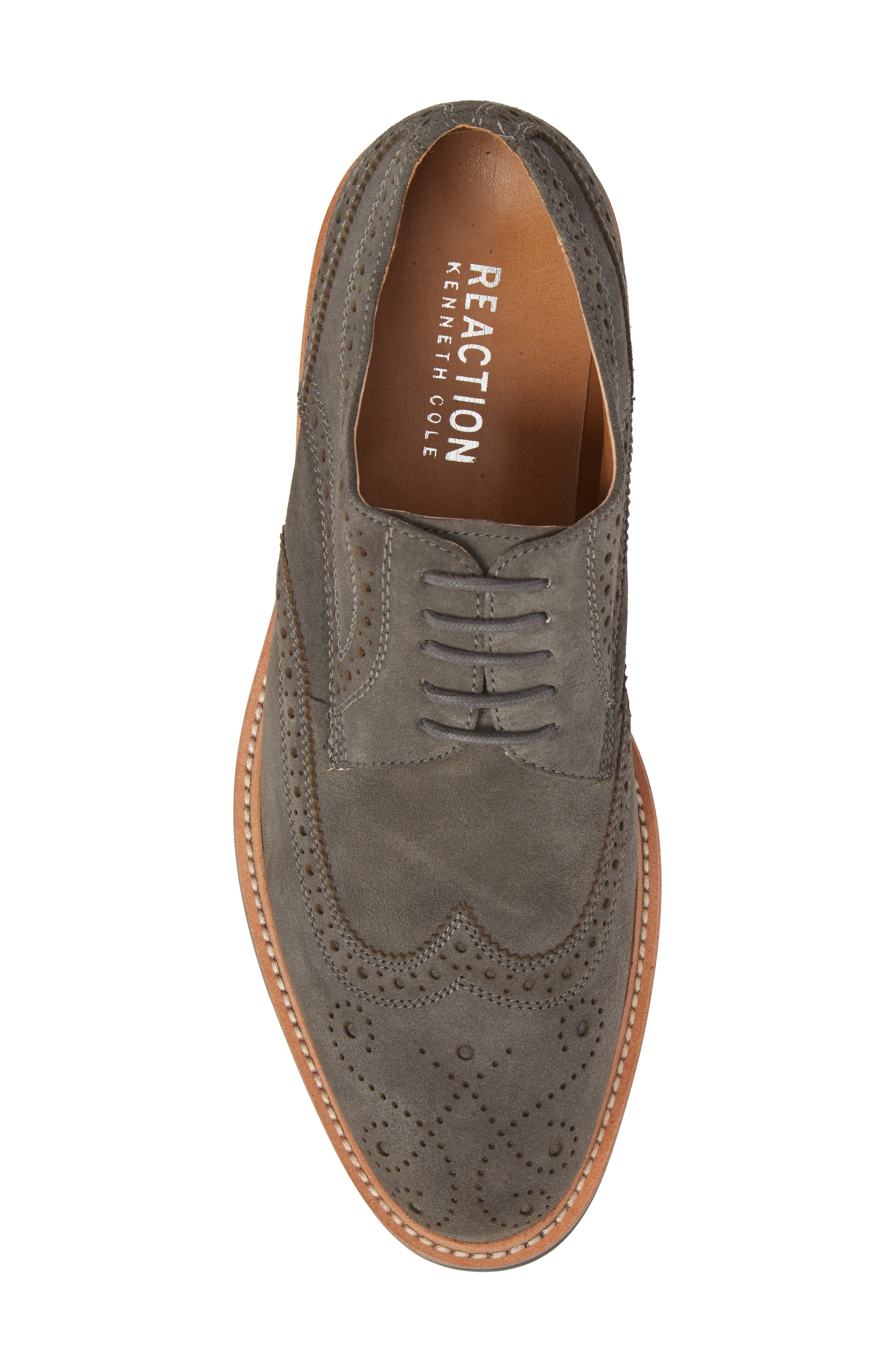 Kenneth Cole Reaction Wingtip,                             Alternate thumbnail 5, color,                             Grey