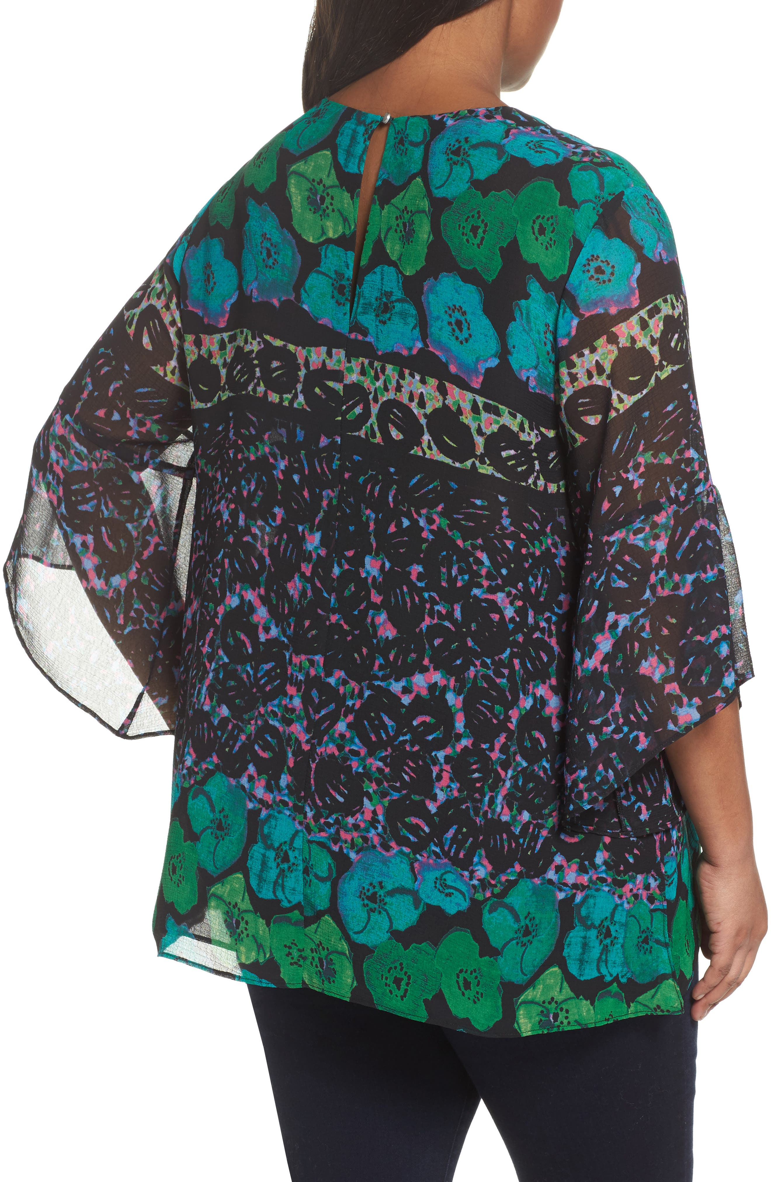 Alternate Image 3  - RACHEL Rachel Roy Print Bell Sleeve Blouse (Plus Size)