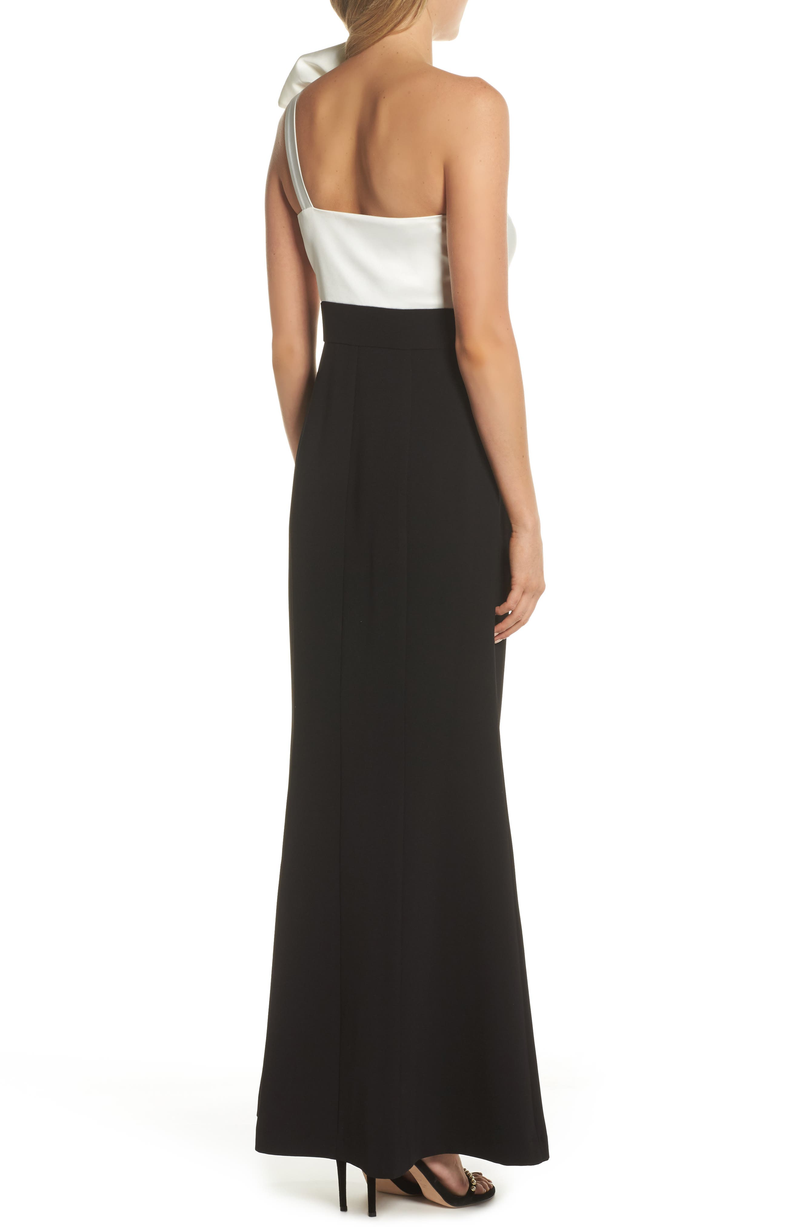 Bow One-Shoulder Gown,                             Alternate thumbnail 2, color,                             Black White