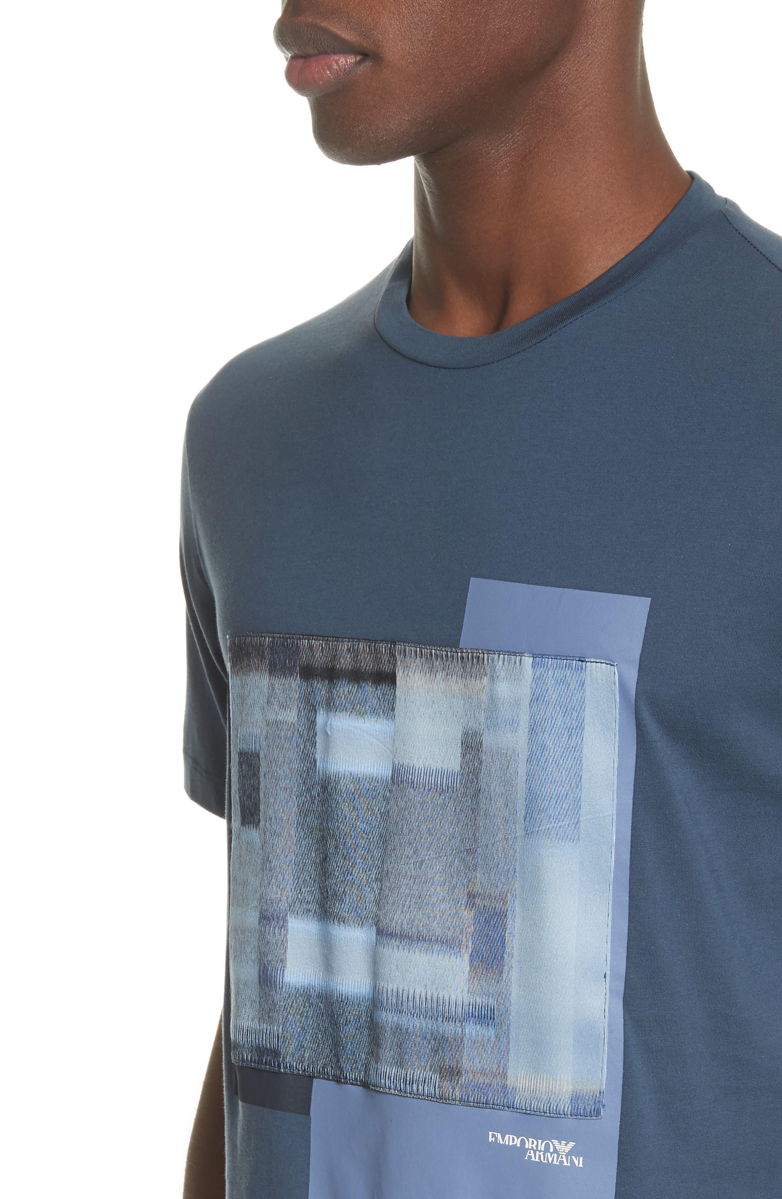 Colorblock Crewneck T-Shirt,                             Alternate thumbnail 4, color,                             Bluette