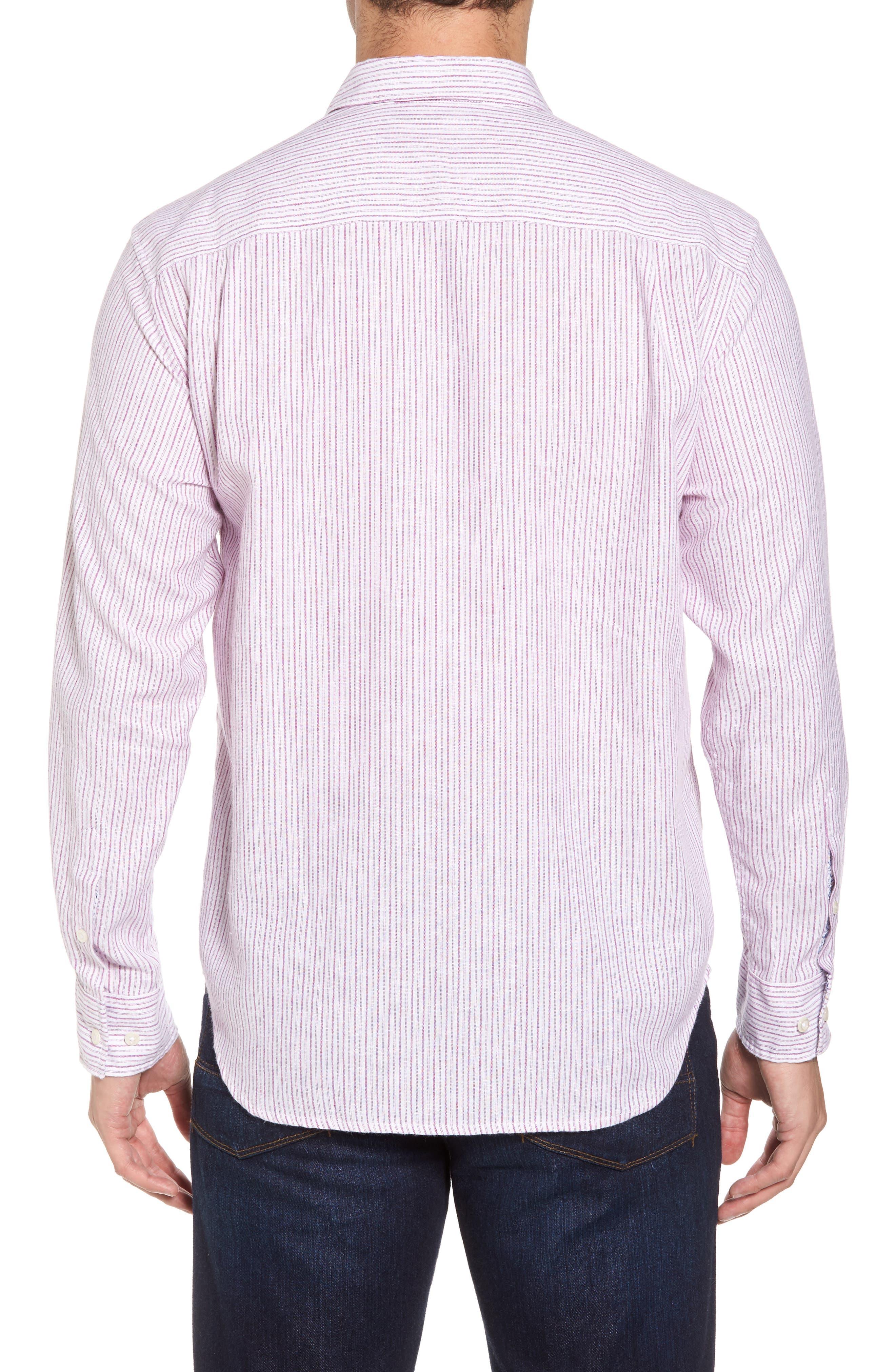 Bungalow Stripe Regular Fit Linen Blend Sport Shirt,                             Alternate thumbnail 2, color,                             Ultra Violet