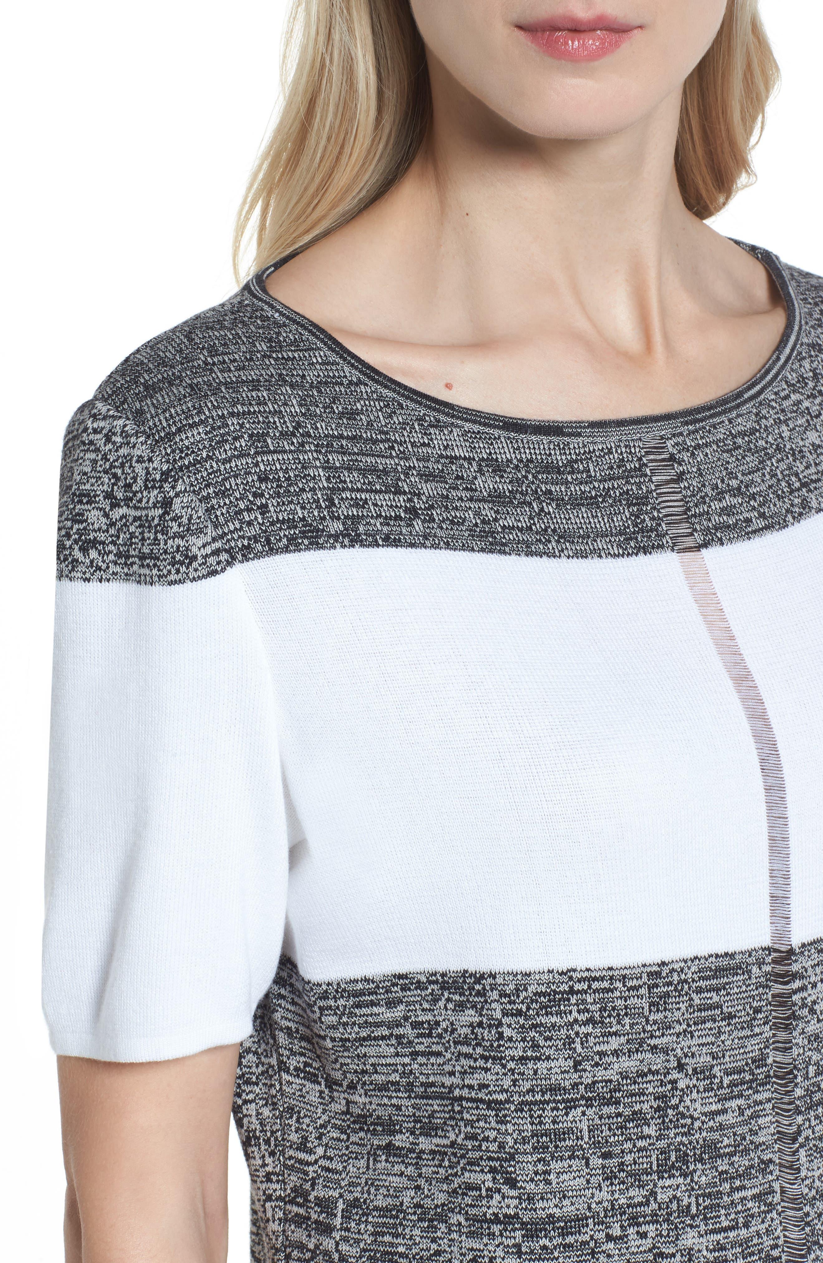 Stripe Open Back Pullover,                             Alternate thumbnail 4, color,                             White/ Almond Beige/ Black