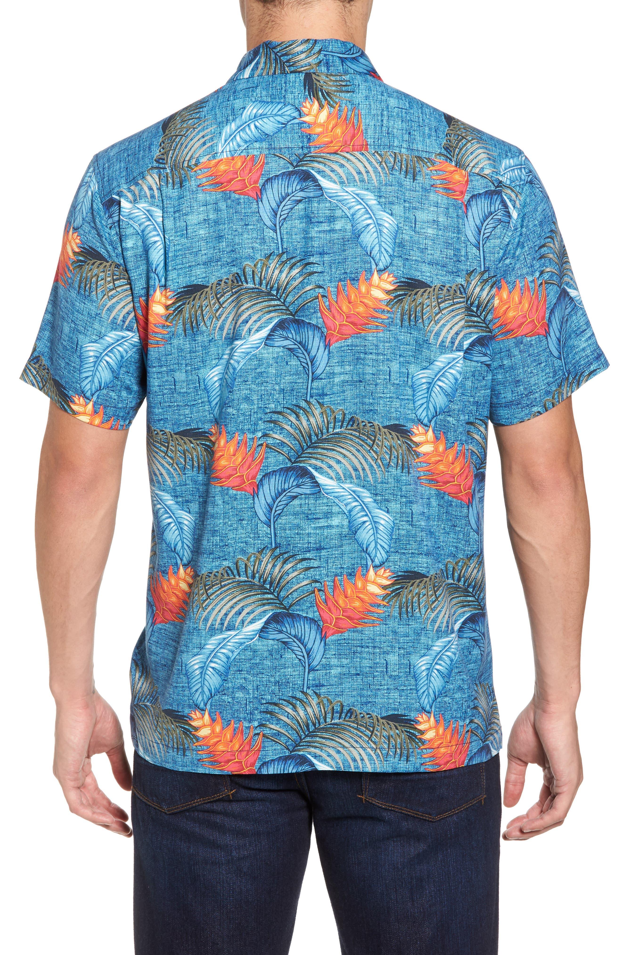 Boca Bouquet Silk Camp Shirt,                             Alternate thumbnail 2, color,                             Kingdom Blue