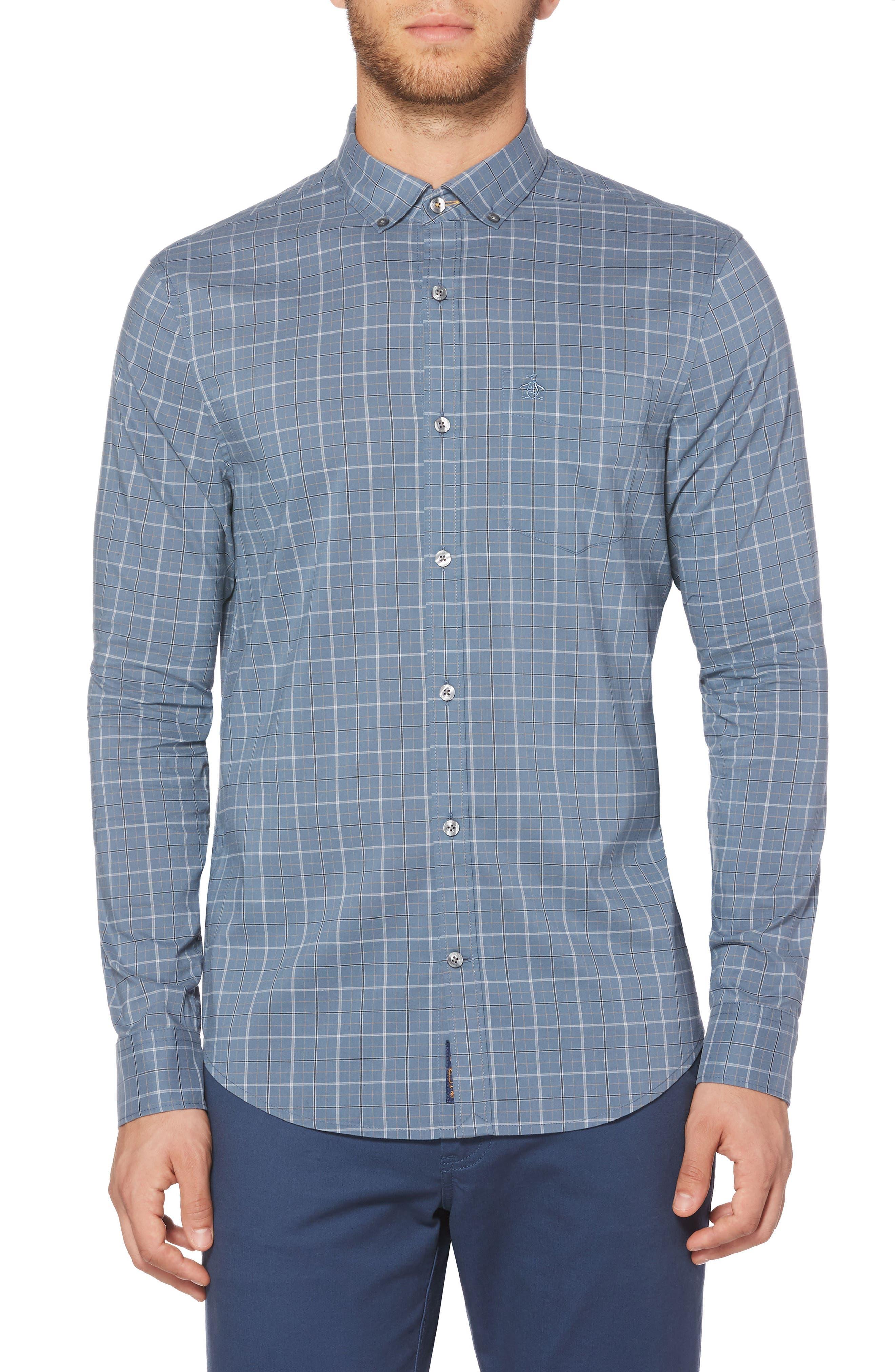 Original Penguin Slim Fit Plaid Woven Shirt