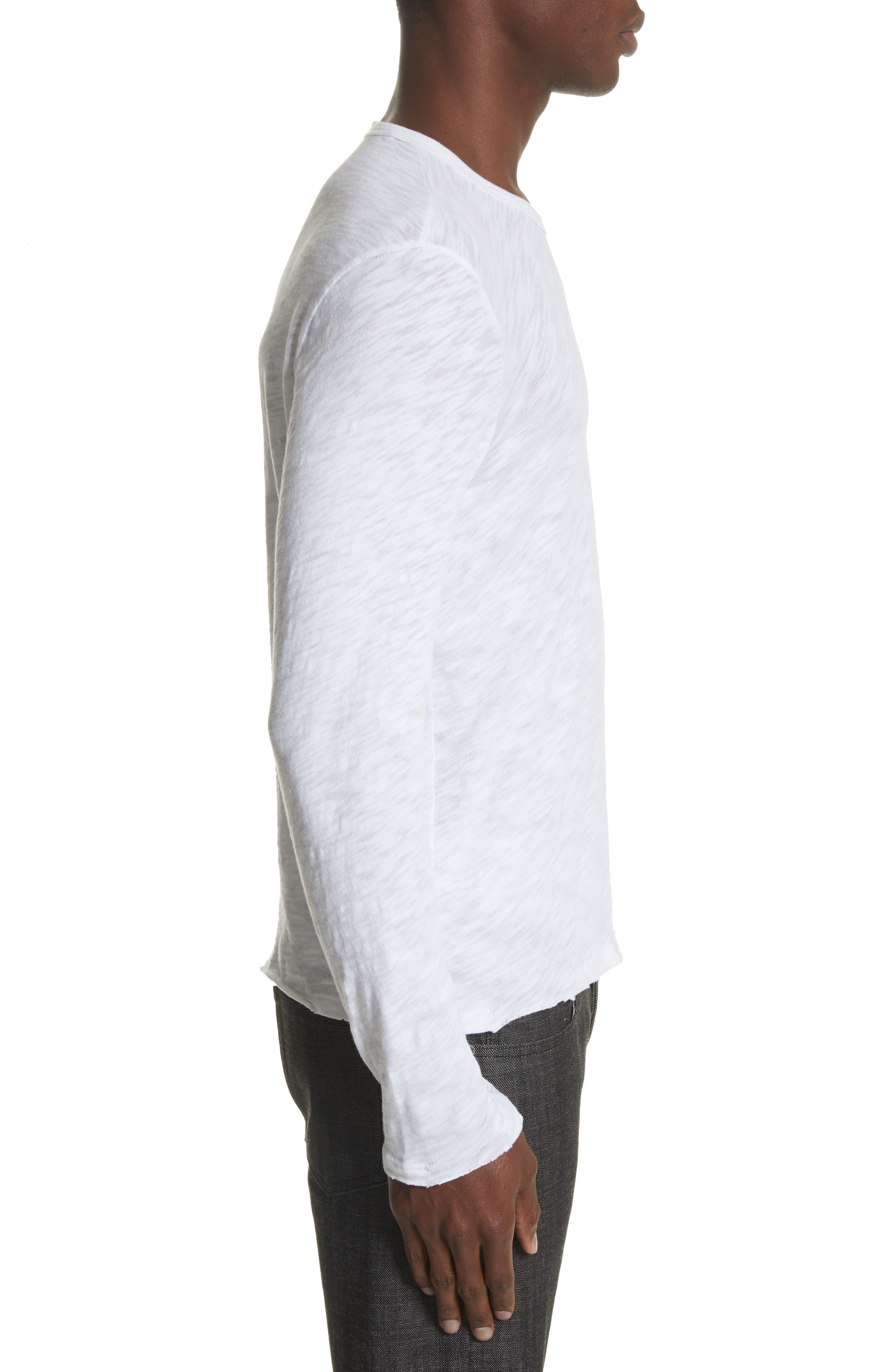 Destroyed Long Sleeve T-Shirt,                             Alternate thumbnail 3, color,                             White