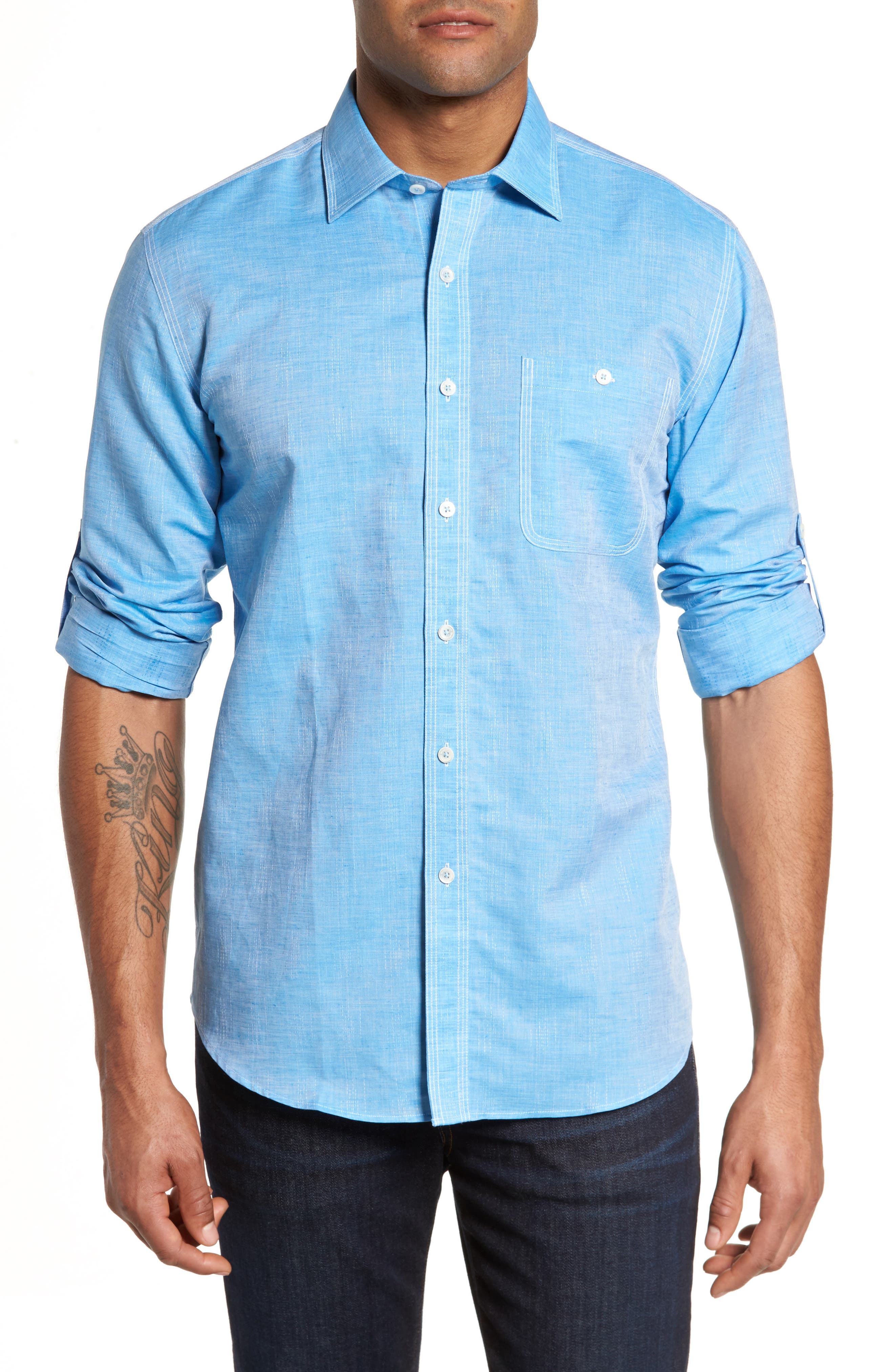 Shaped Fit Sport Shirt,                             Main thumbnail 1, color,                             Turquoise