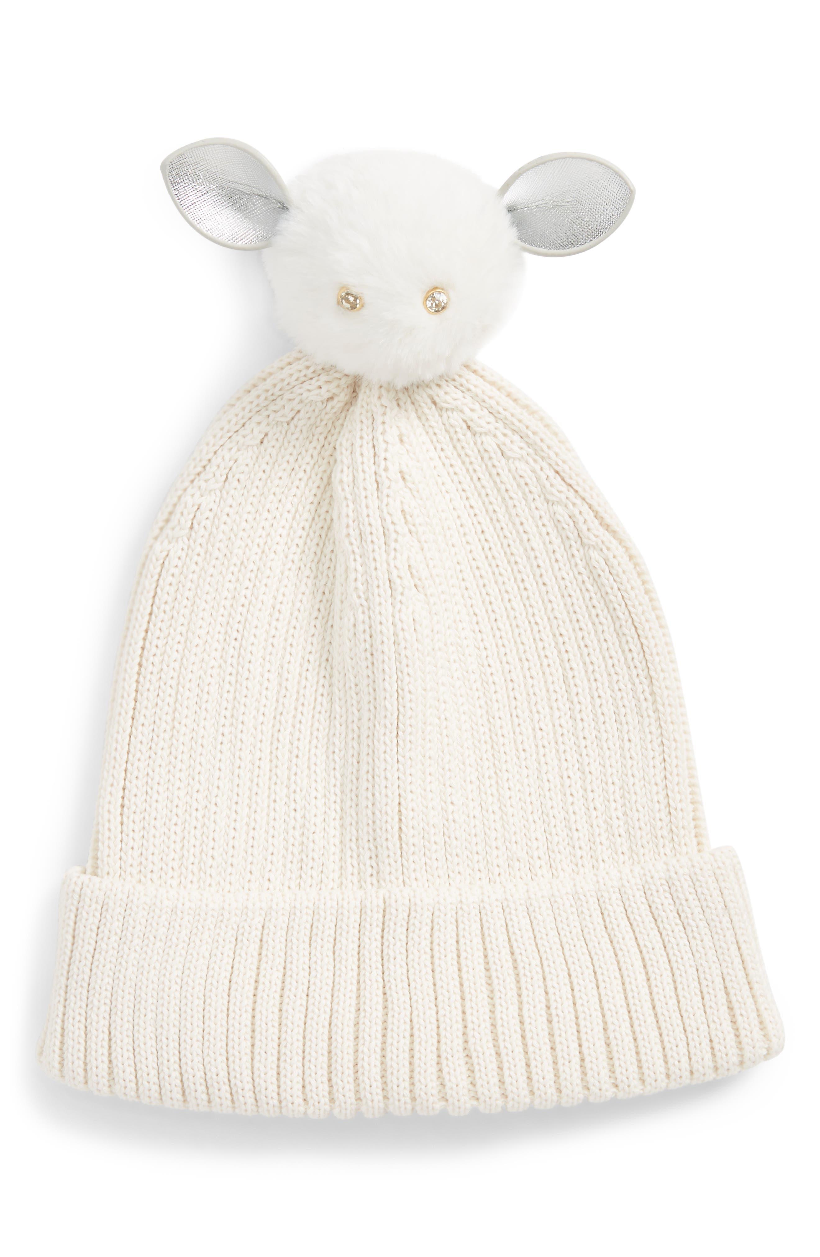 Critter Faux Fur Bunny Pom Beanie,                         Main,                         color, Grey Moon Beam