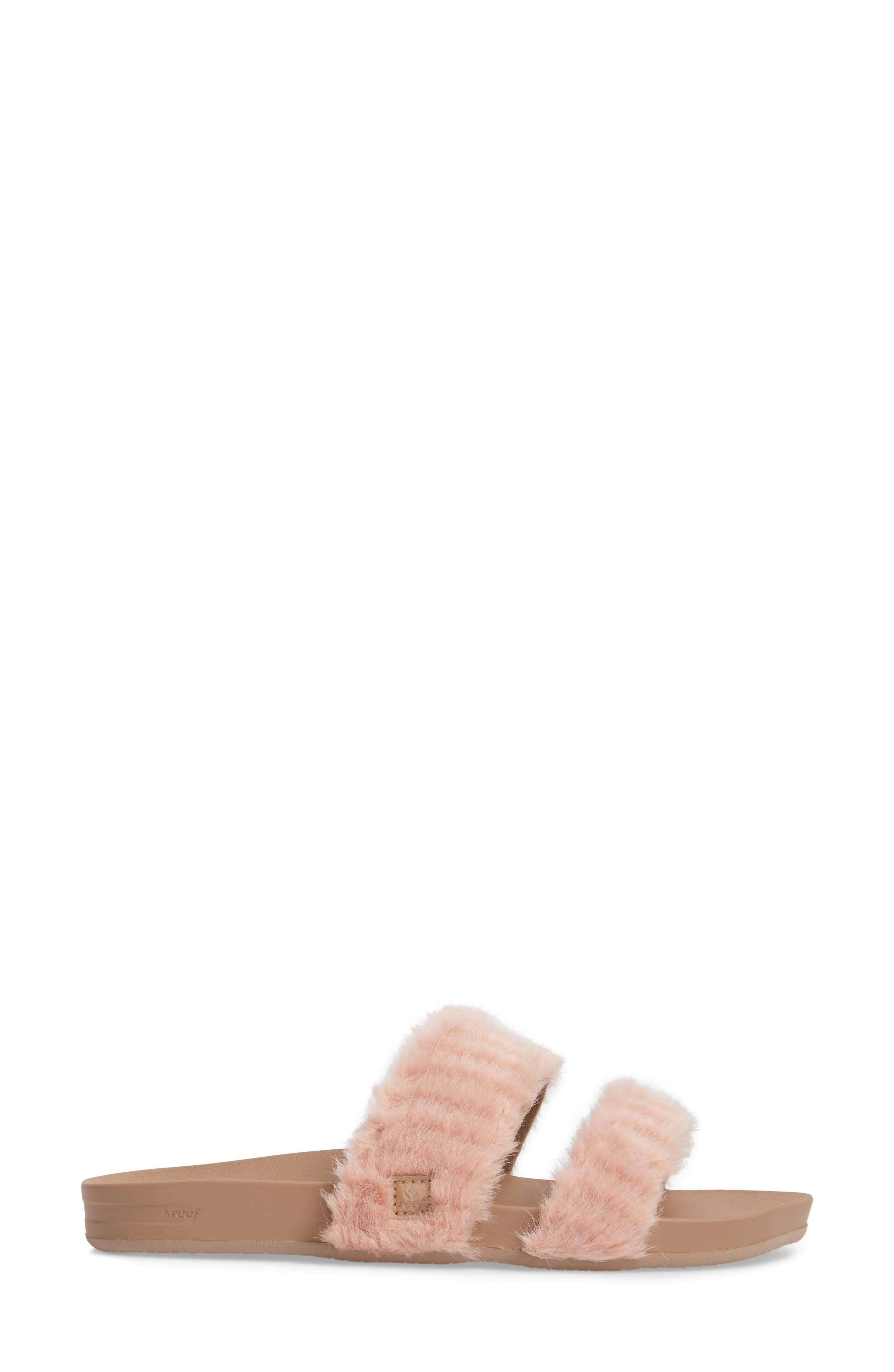 Bounce Faux Fur Double Strap Slide Sandal,                             Alternate thumbnail 3, color,                             Blush