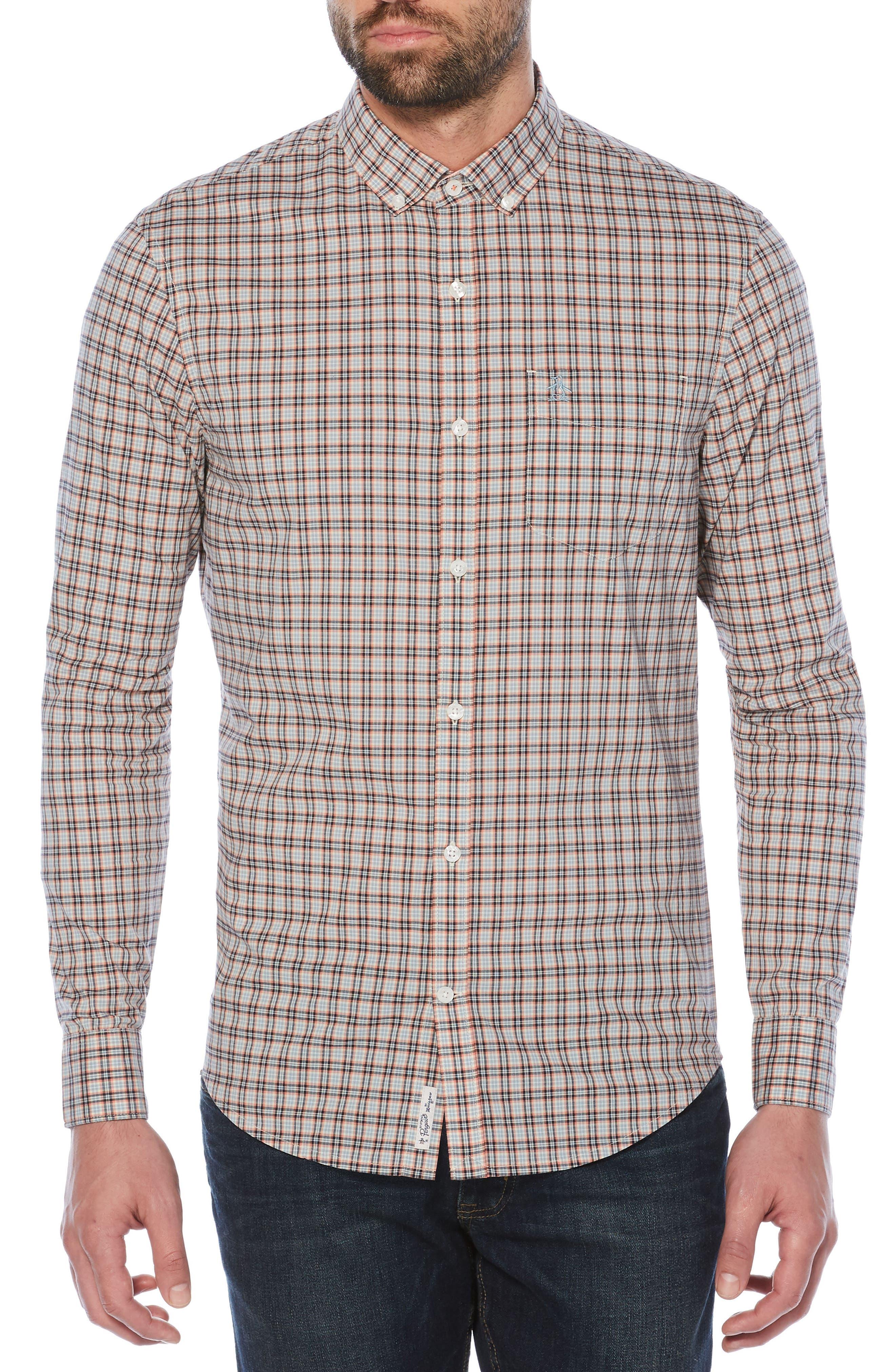 P55 Plaid Shirt,                         Main,                         color, Crabapple