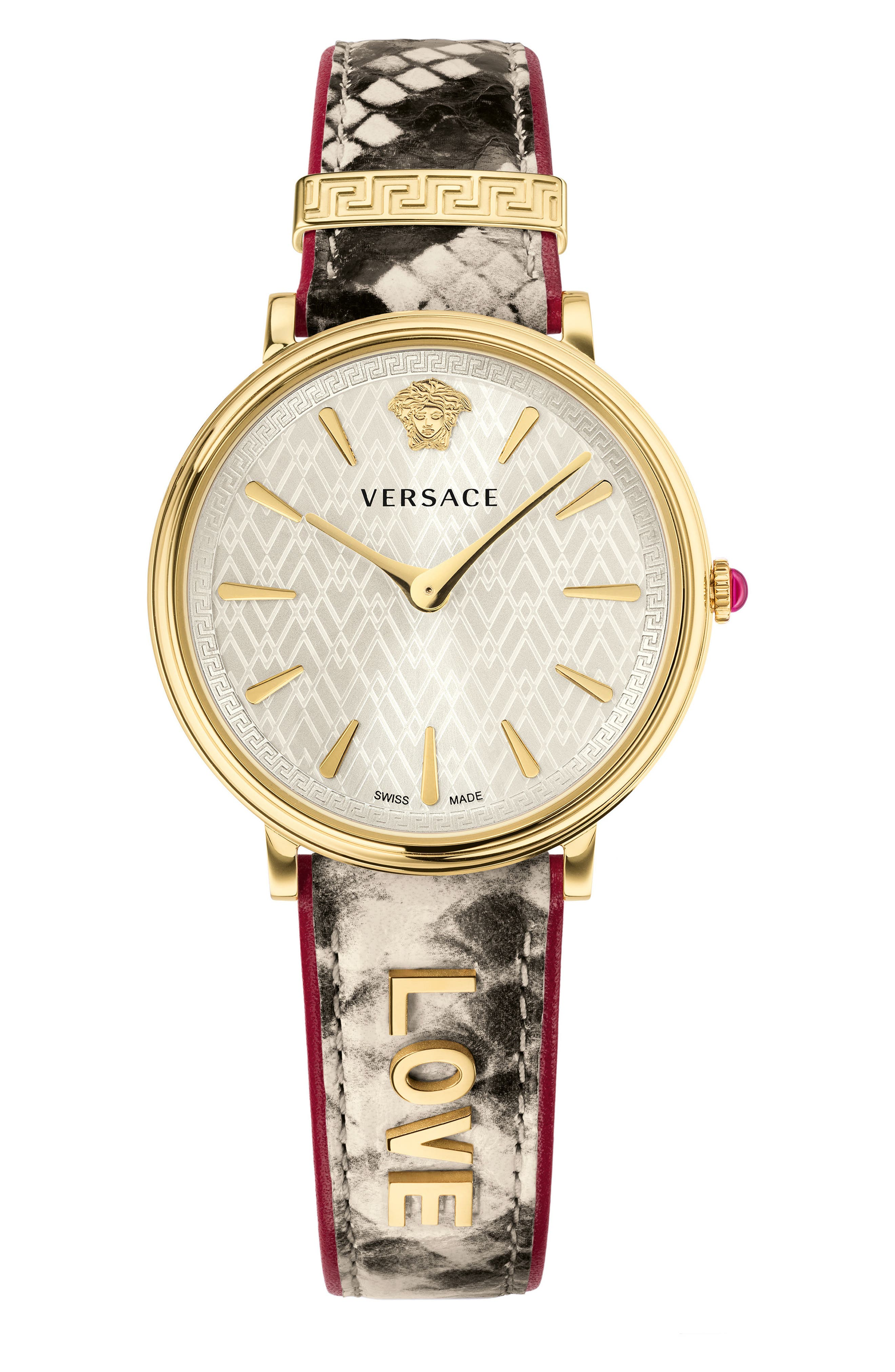 Manifesto Leather Strap Watch, 38mm,                             Main thumbnail 1, color,                             Snake/ White/ Gold
