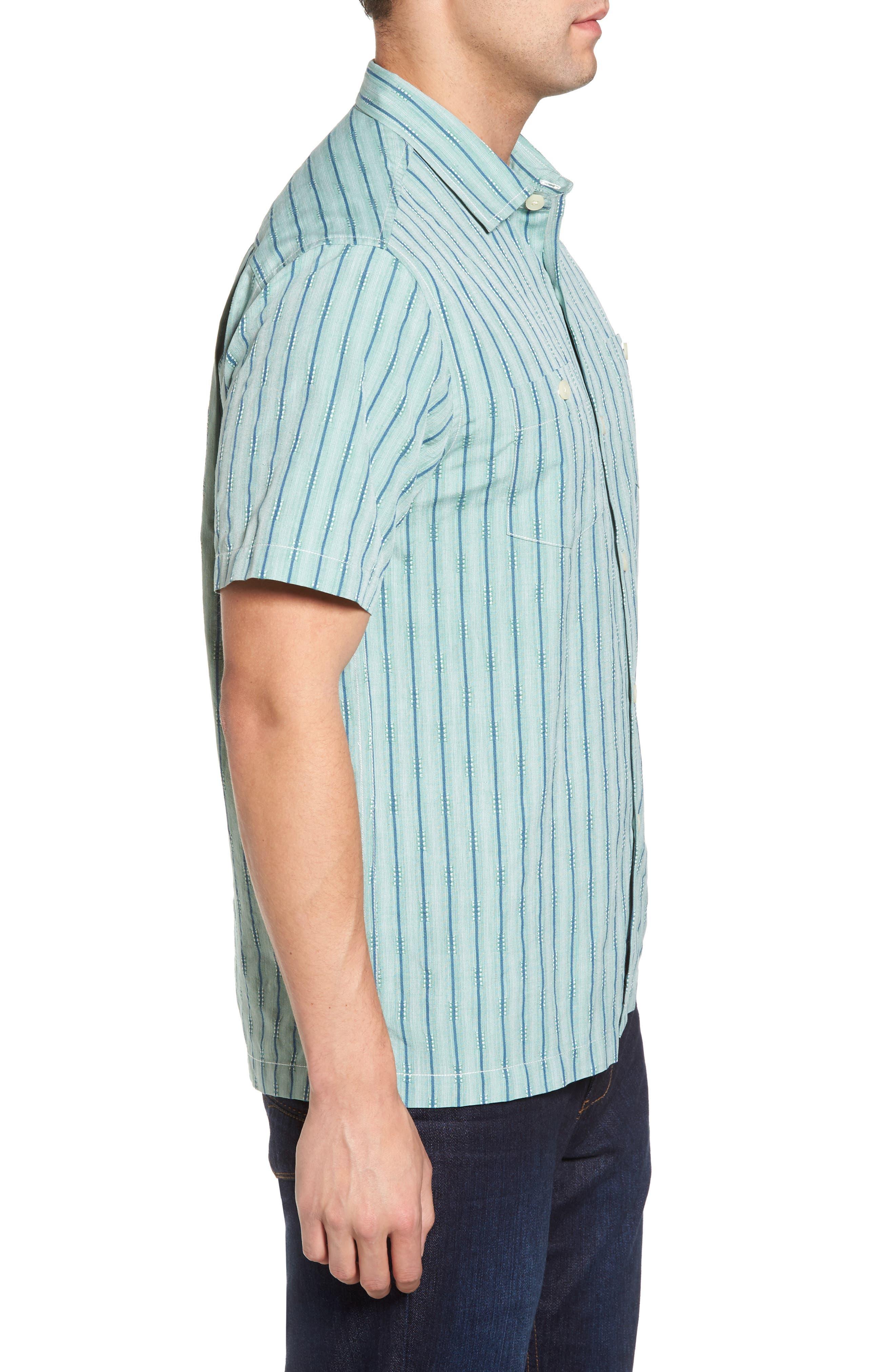 Florida Geometric Line Silk Blend Camp Shirt,                             Alternate thumbnail 3, color,                             Deep Grass Green