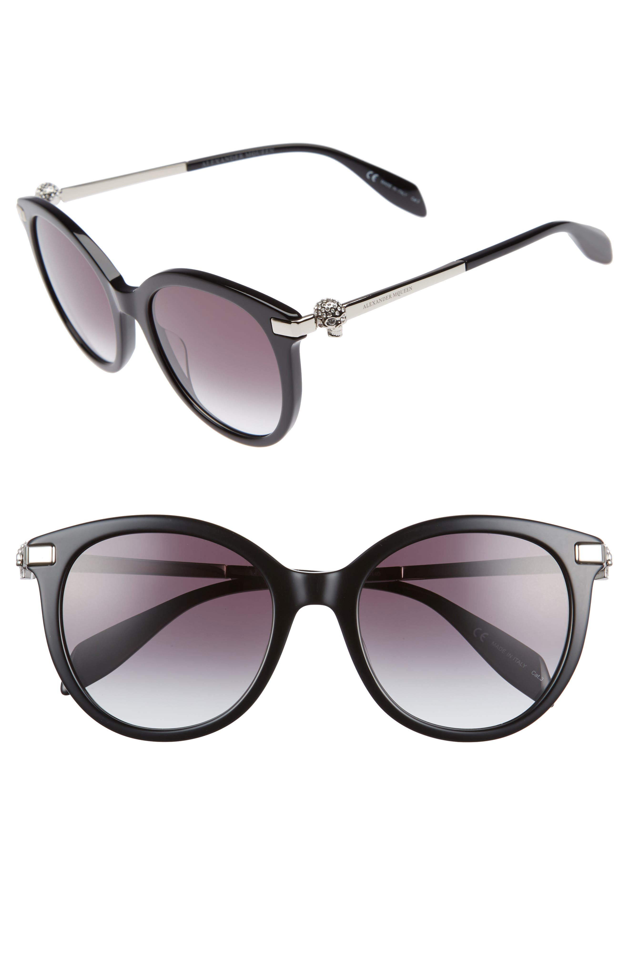 53mm Rounded Cat Eye Sunglasses,                             Main thumbnail 1, color,                             Black