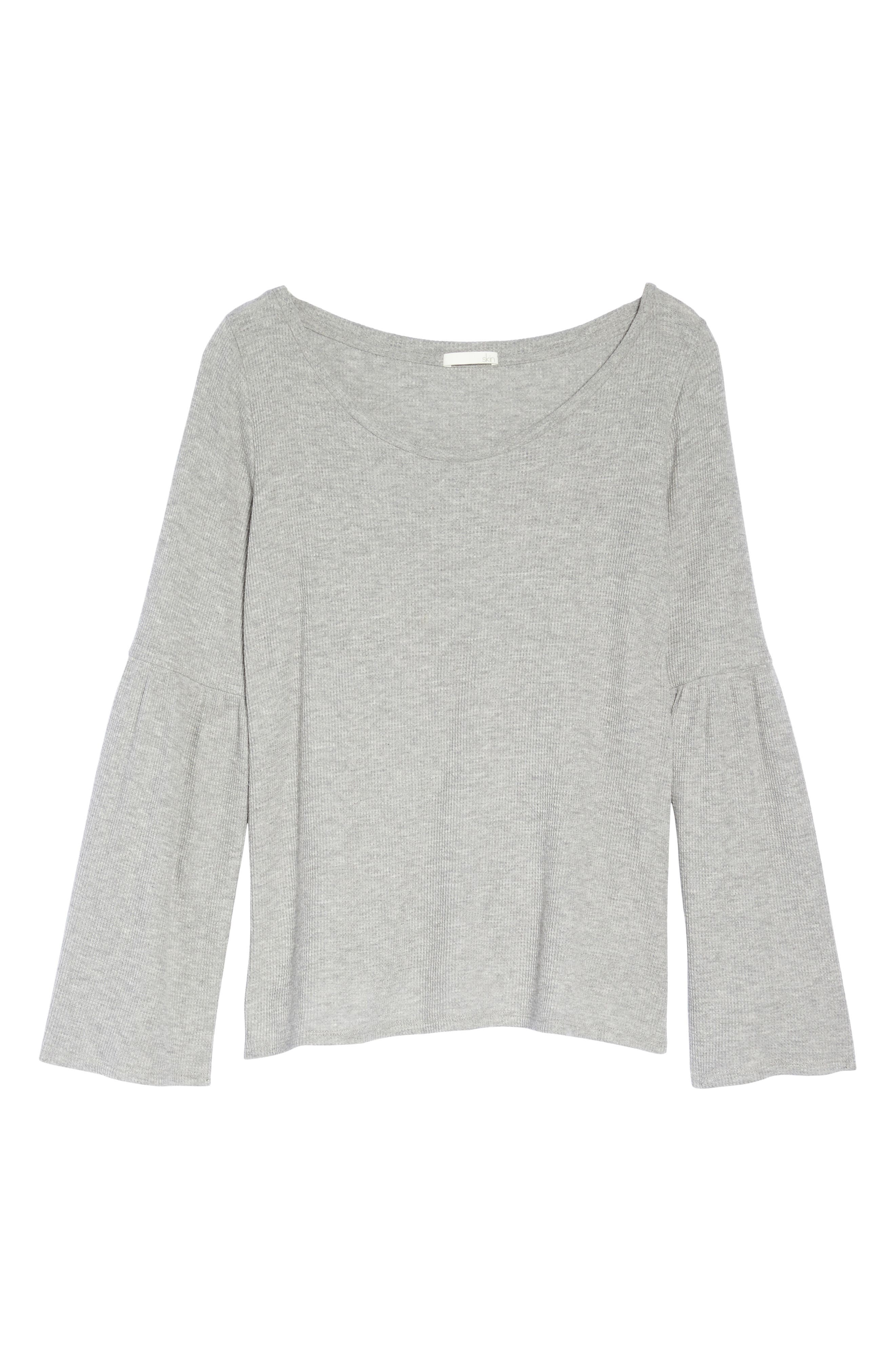 Imo Thermal Knit Tee,                             Alternate thumbnail 4, color,                             Heather Grey