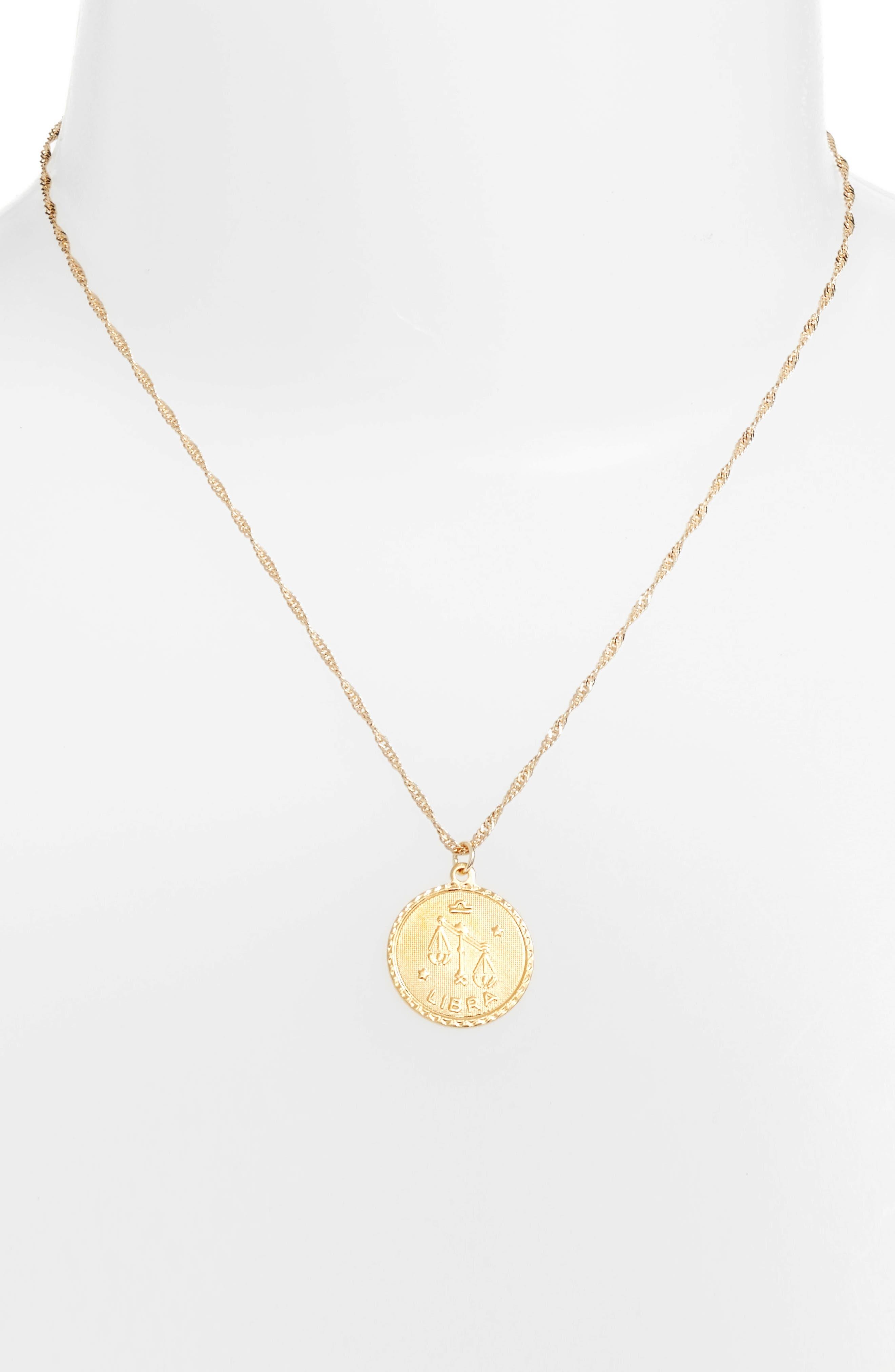 Ascending Libra Pendant Necklace,                             Alternate thumbnail 2, color,                             Yellow Gold