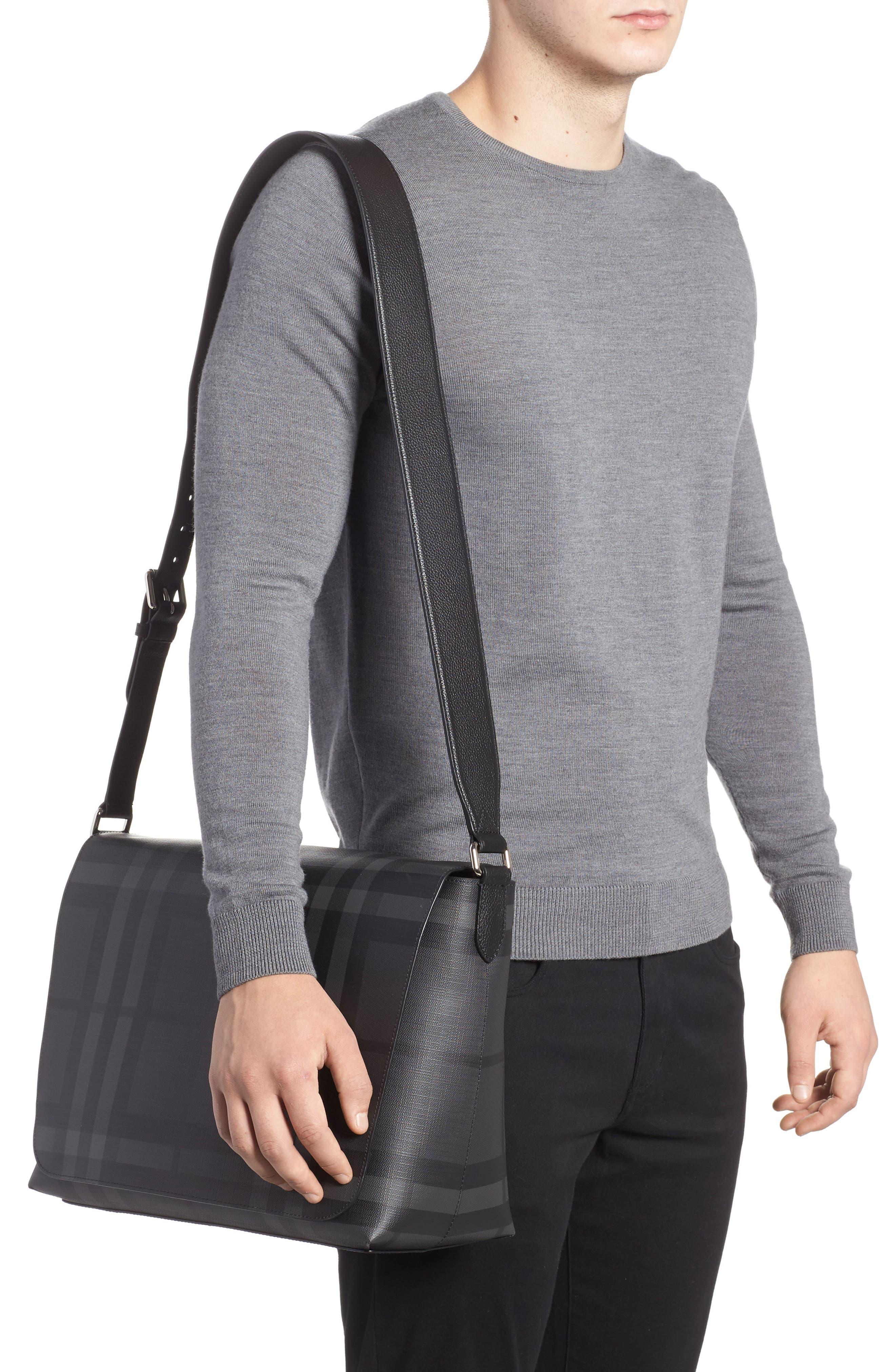 London Check Messenger Bag,                             Alternate thumbnail 2, color,                             Charcoal/ Black