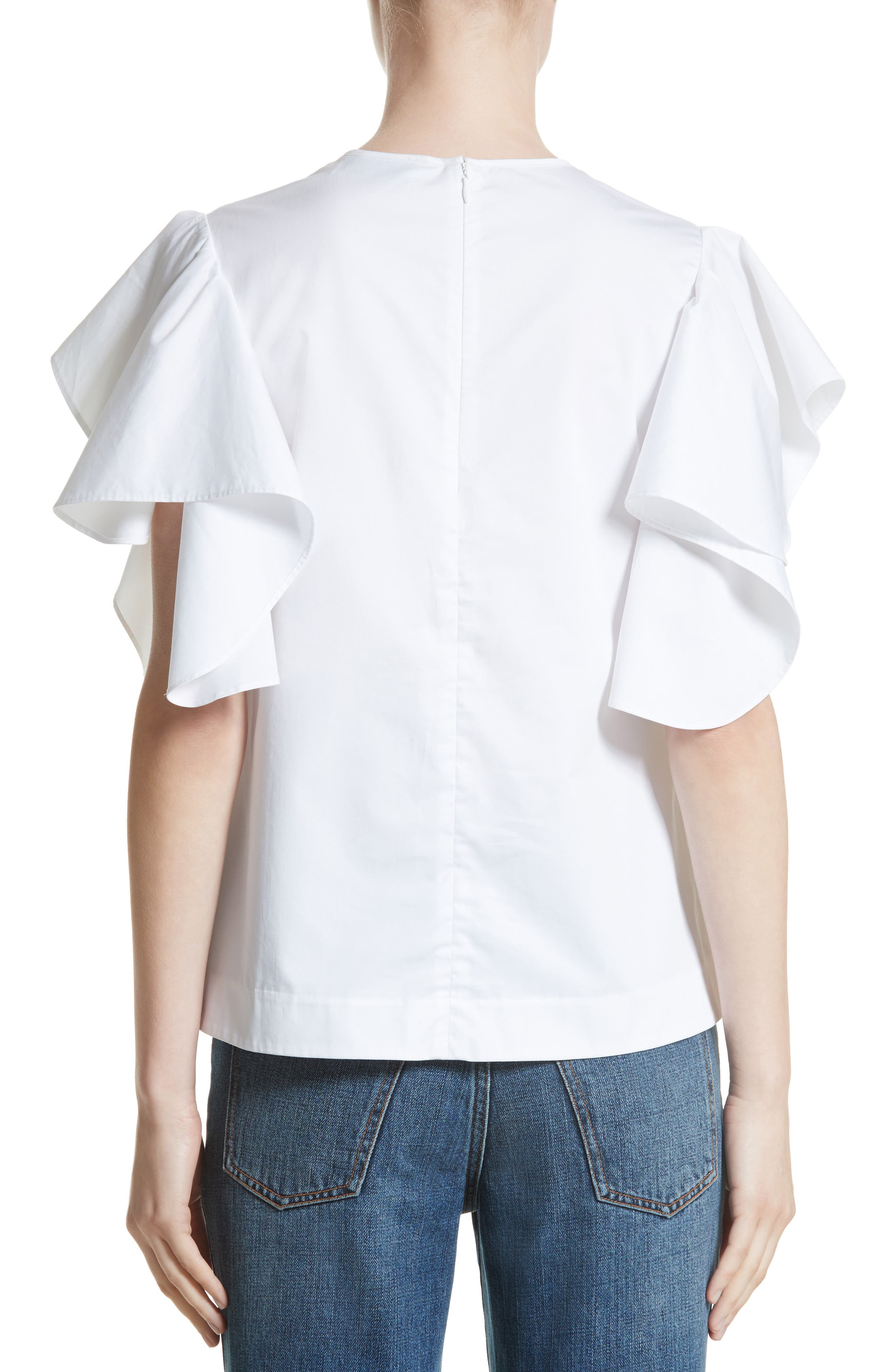 Alternate Image 2  - Co Ruffle Sleeve Cotton Poplin Top