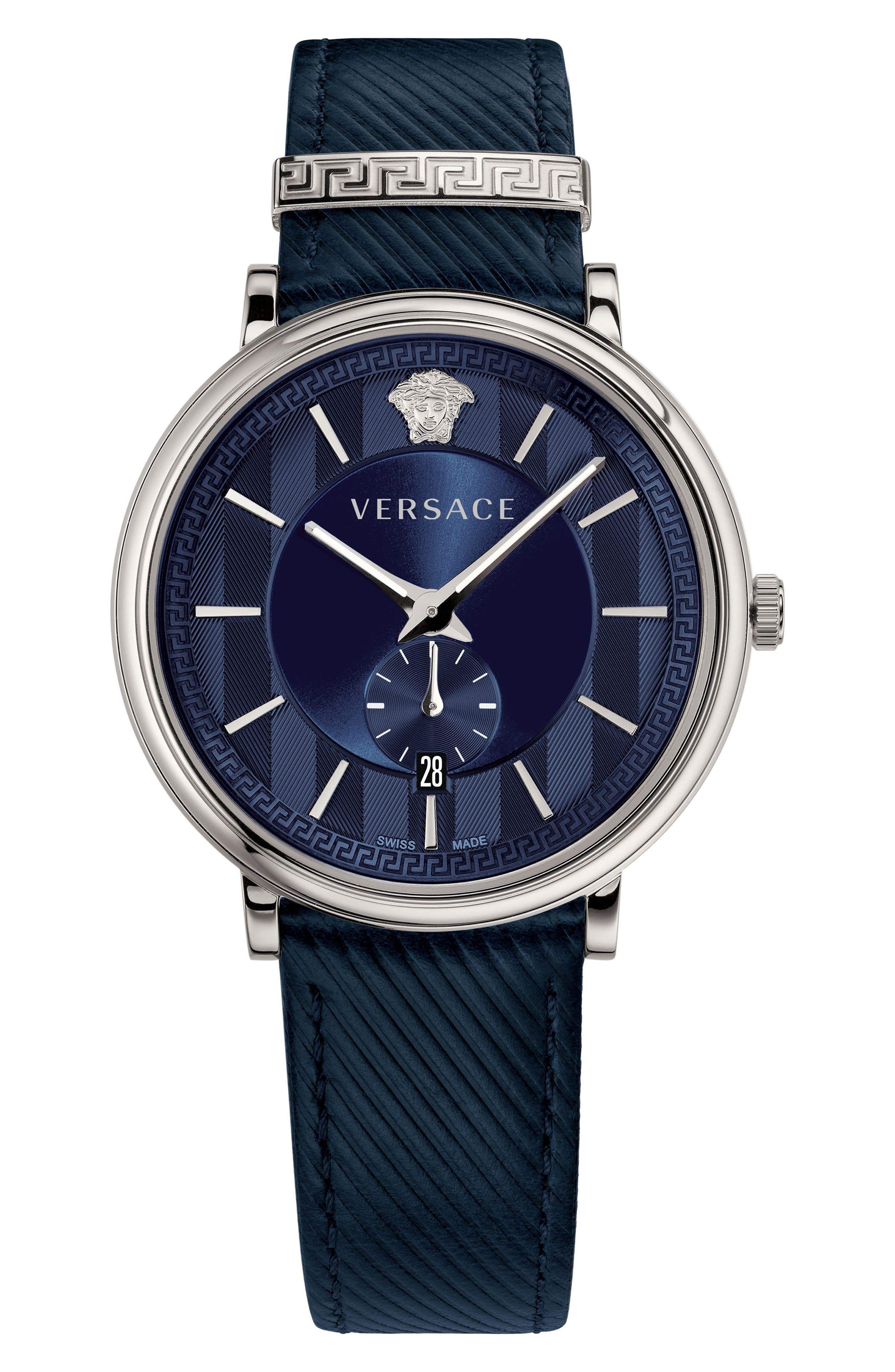 Manifesto Leather Strap Watch, 42mm,                         Main,                         color, Blue/ Silver