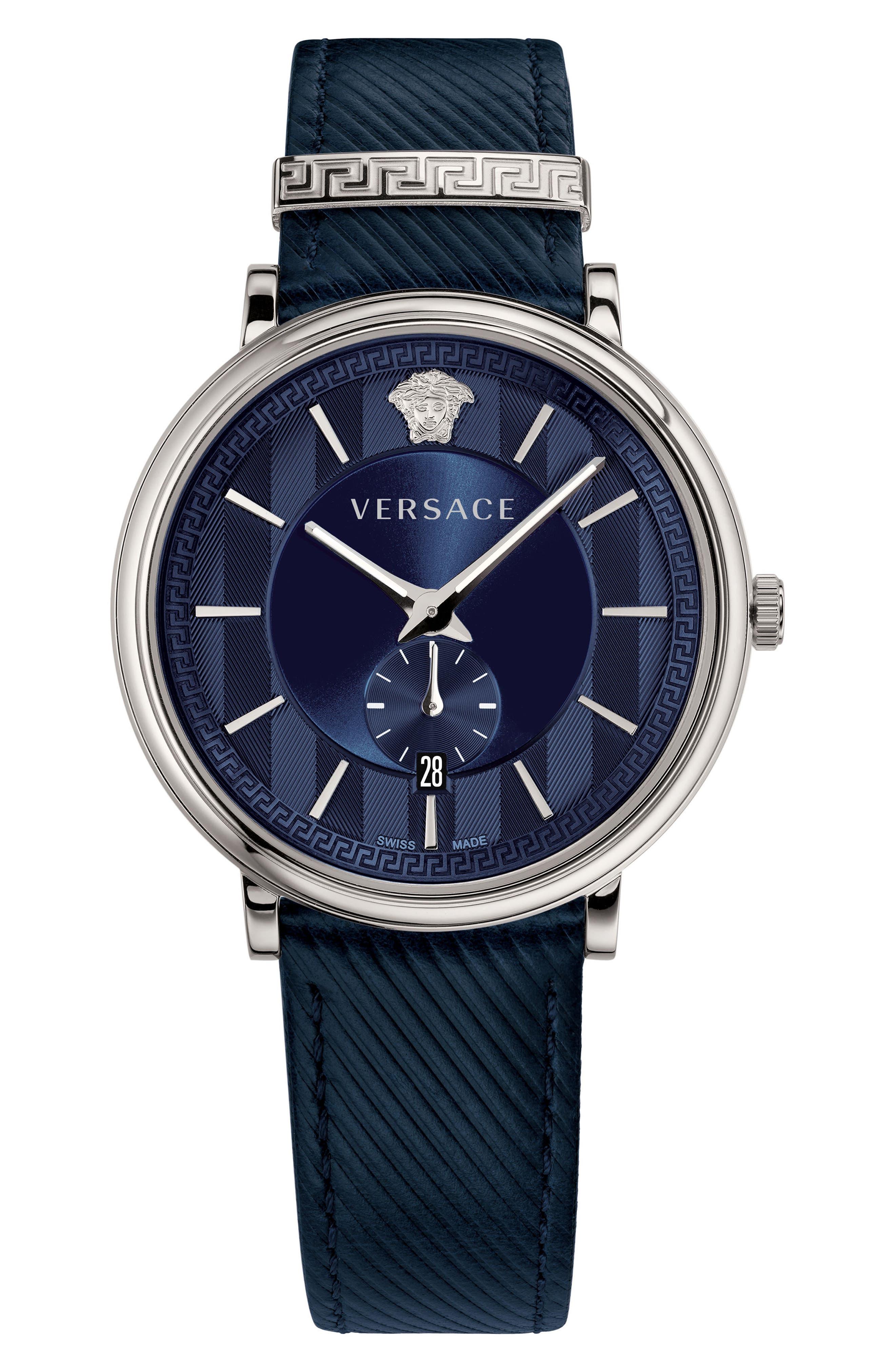 Versace Manifesto Leather Strap Watch, 42mm